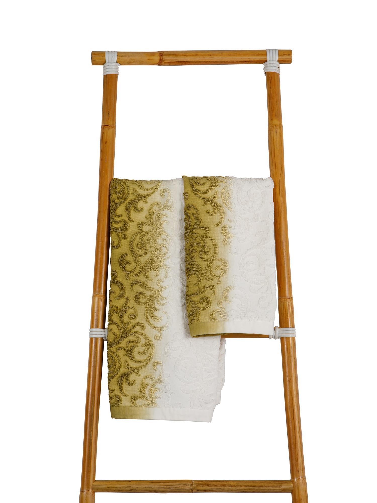Asciugamano spugna di cotone dip dye, Verde, large image number 0