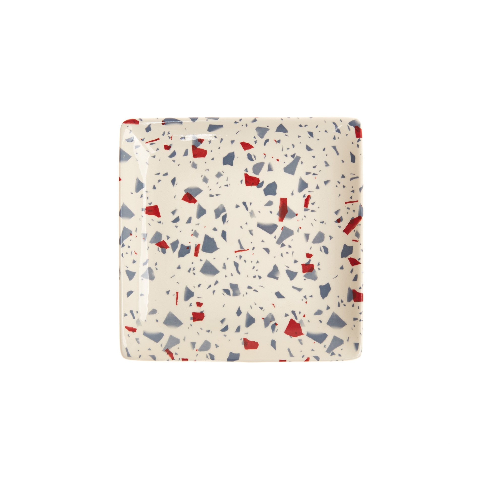 Marble-effect stoneware plate, White, large image number 0