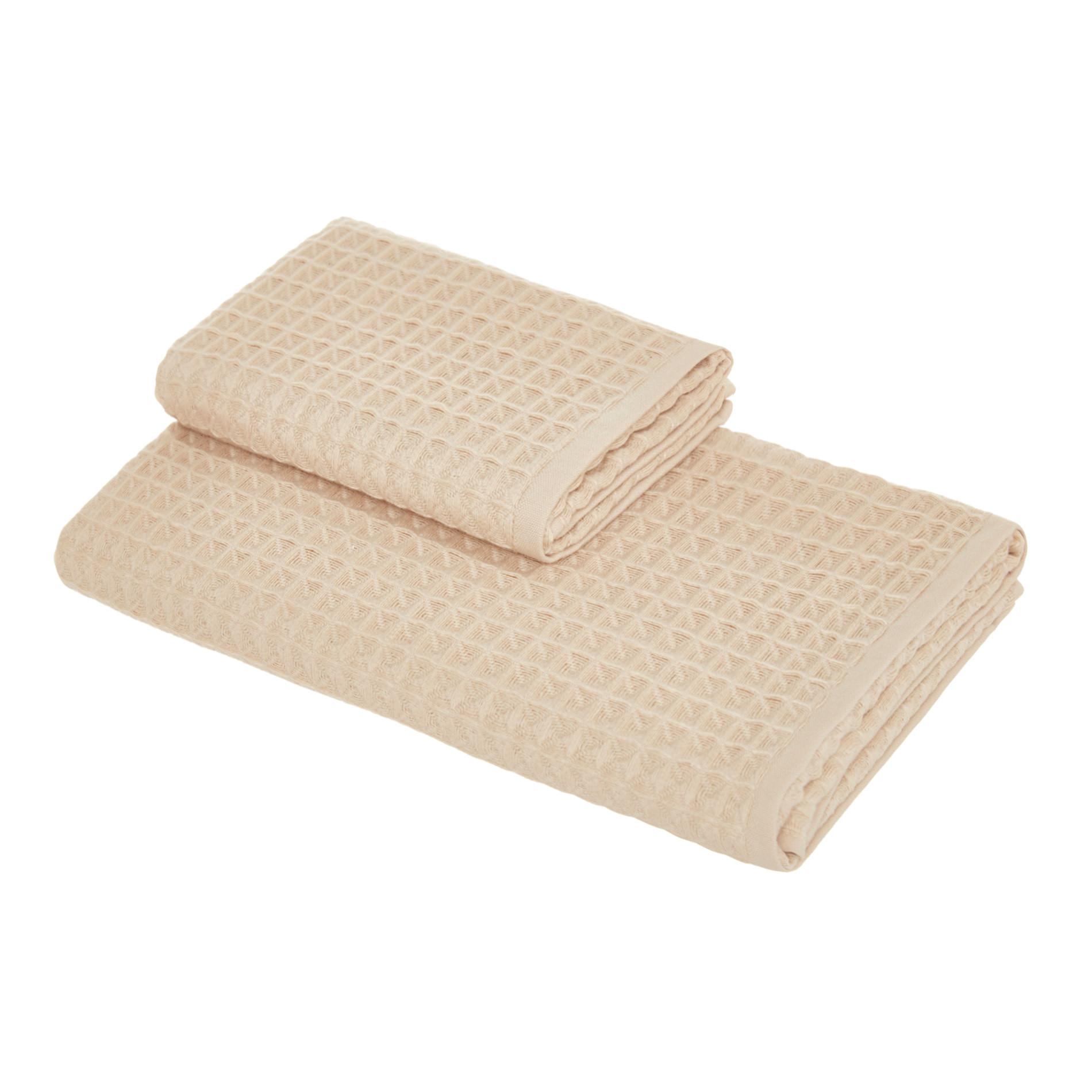Set 2 asciugamani puro cotone nido d'ape tinta unita, Beige, large image number 0