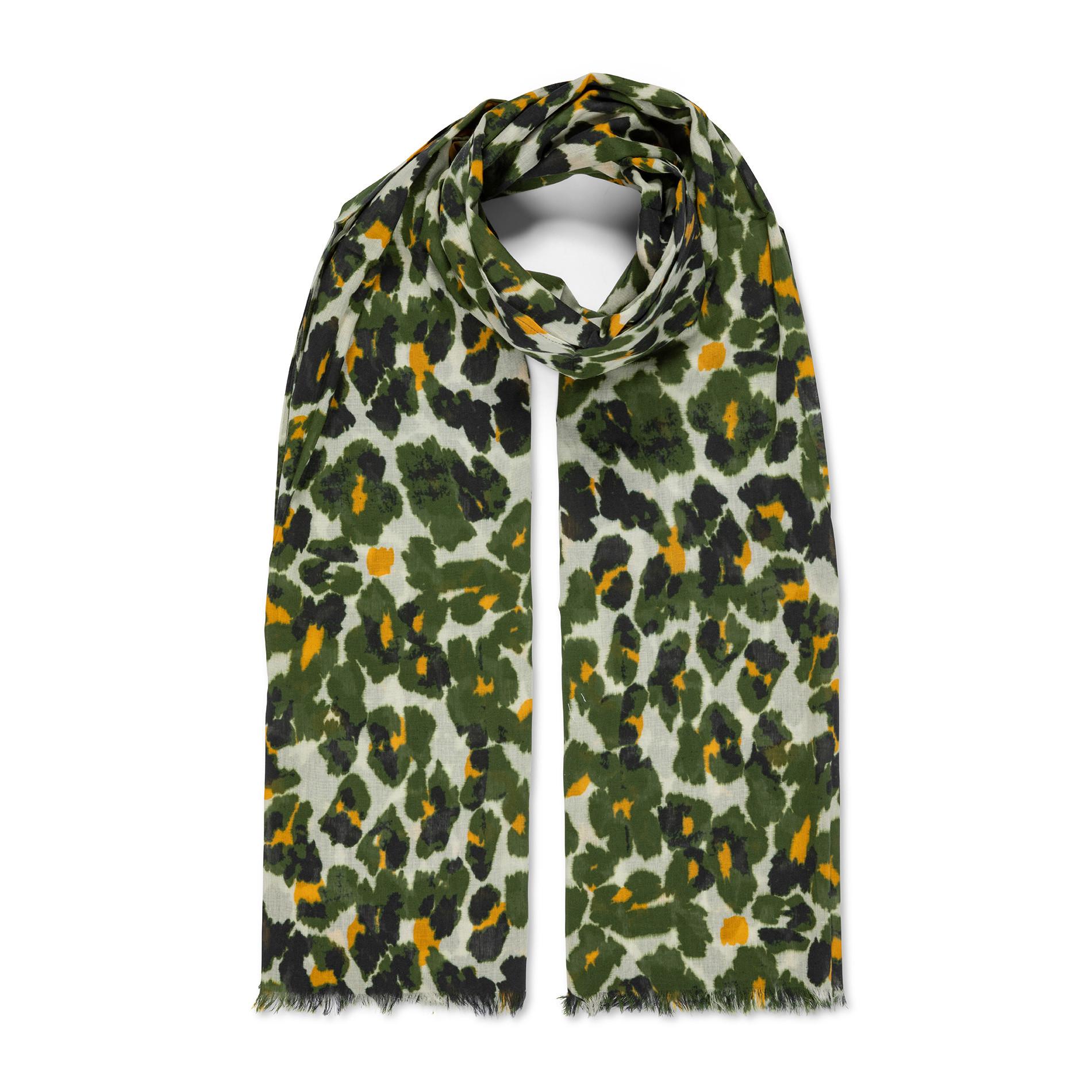 Pareo puro cotone stampa animalier Koan, Verde scuro, large image number 1