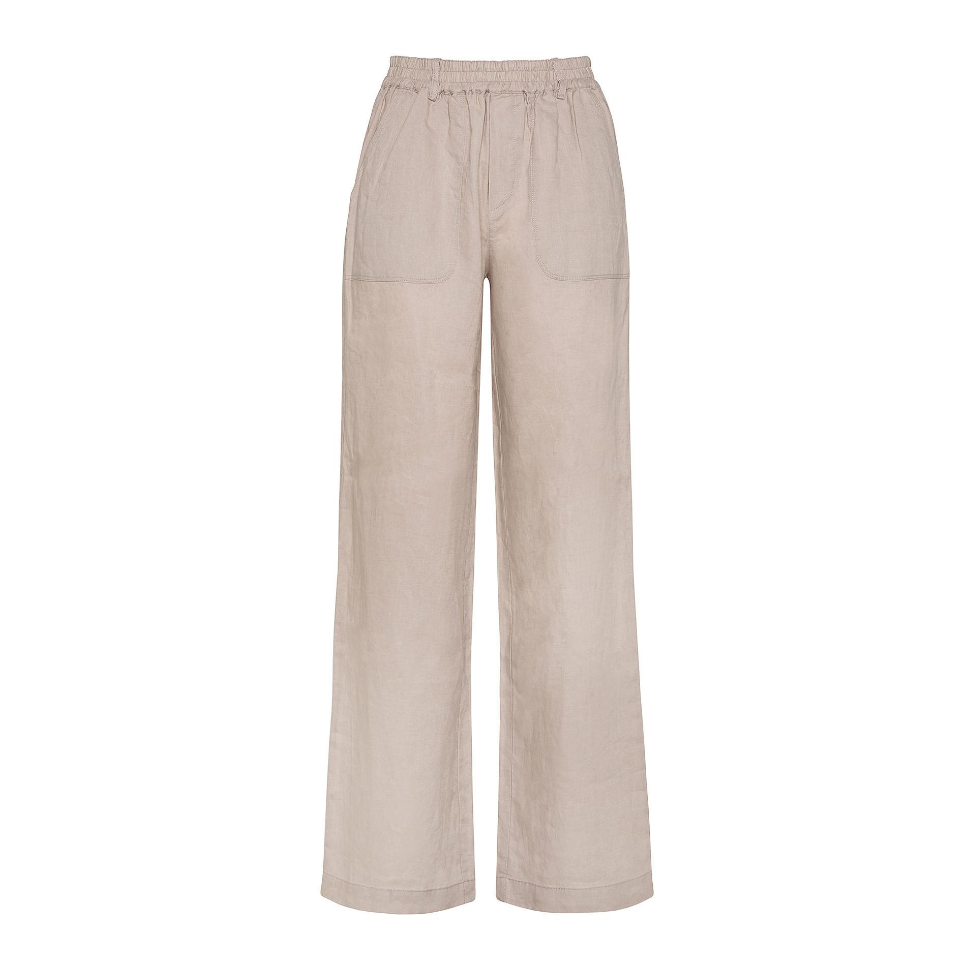 Pantalone morbido 100% lino Koan, Beige, large image number 1