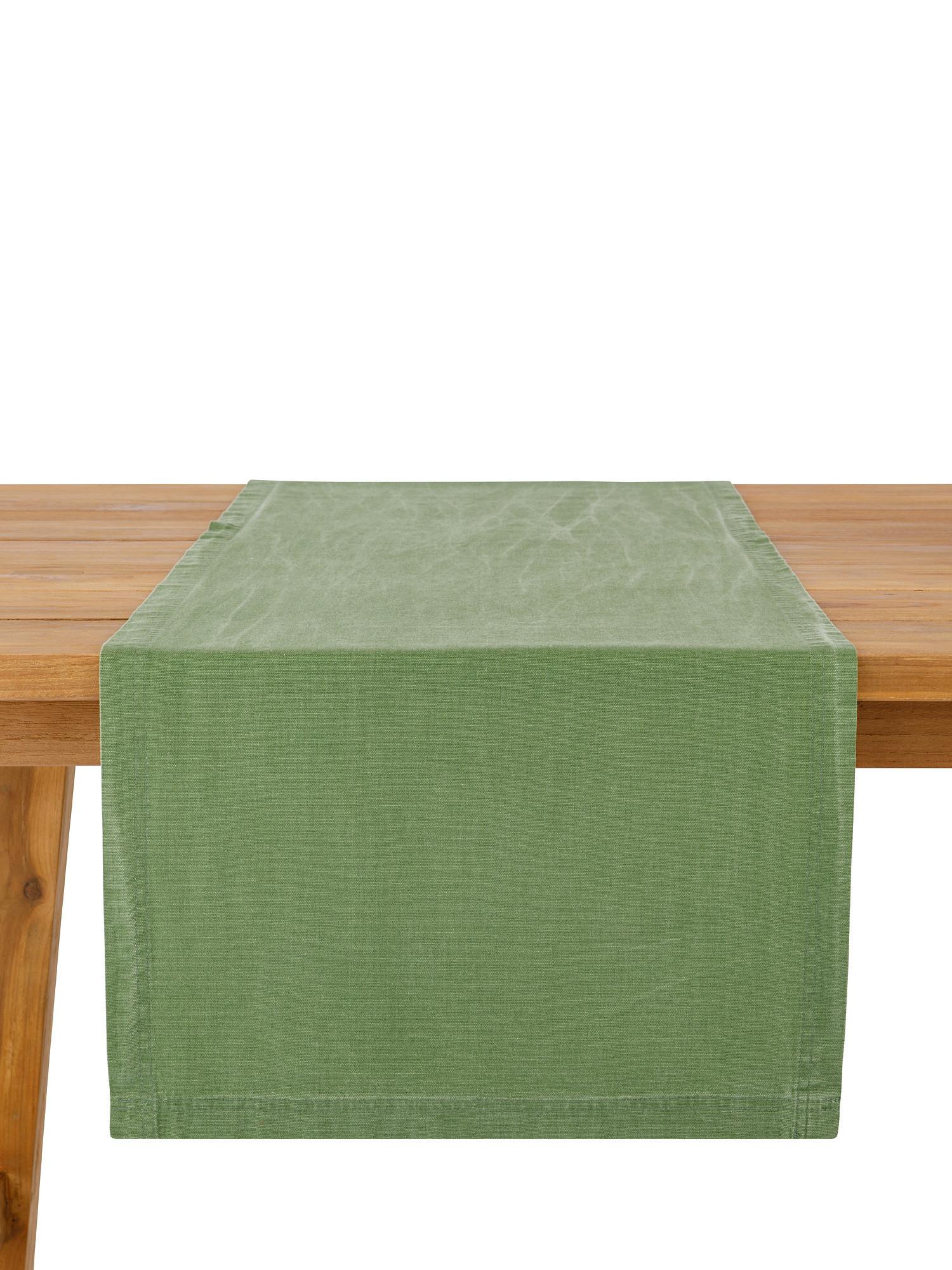 Runner puro cotone garment washed, Verde, large image number 1