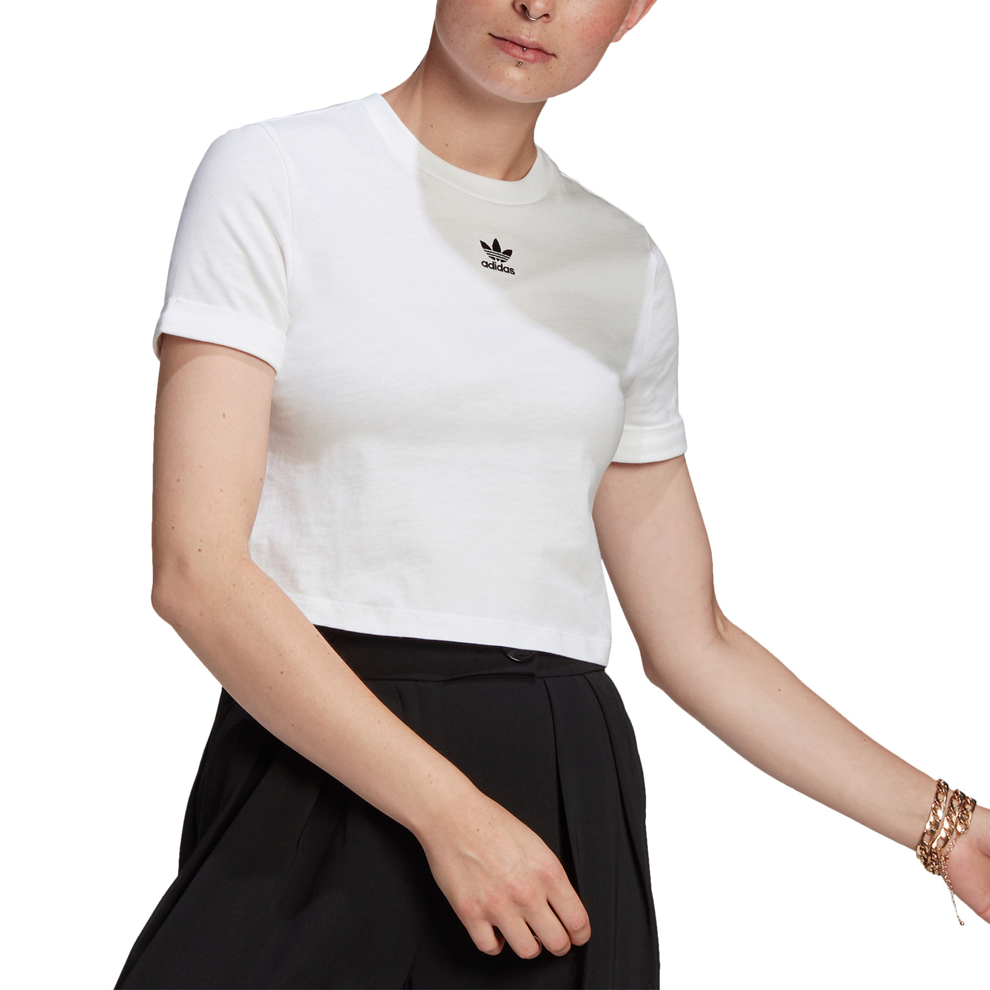 T-shirt adicolor Classics Roll-Up Sleeve Crop, Bianco, large image number 2