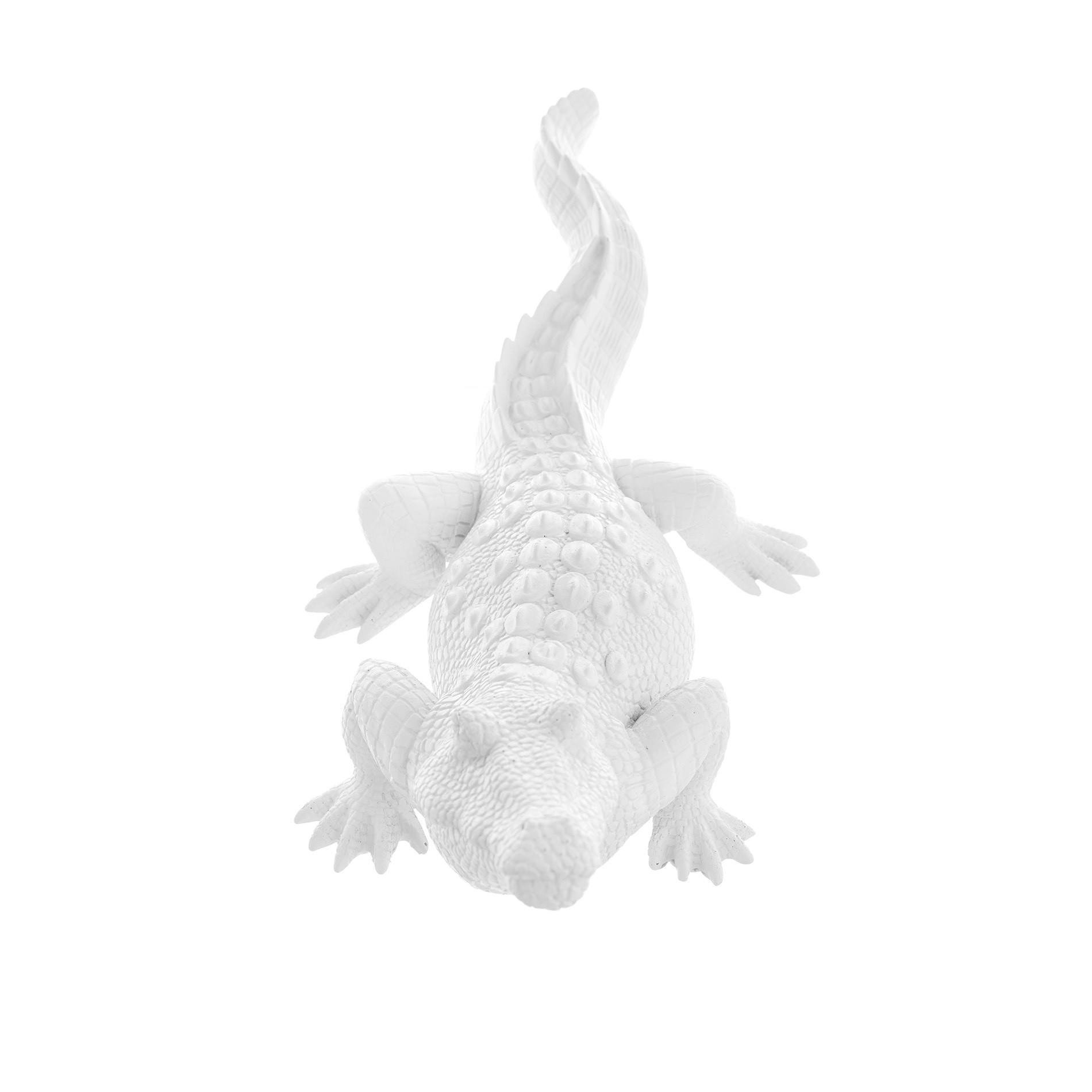 Coccodrillo decorativa rifinita a mano, Bianco, large image number 1