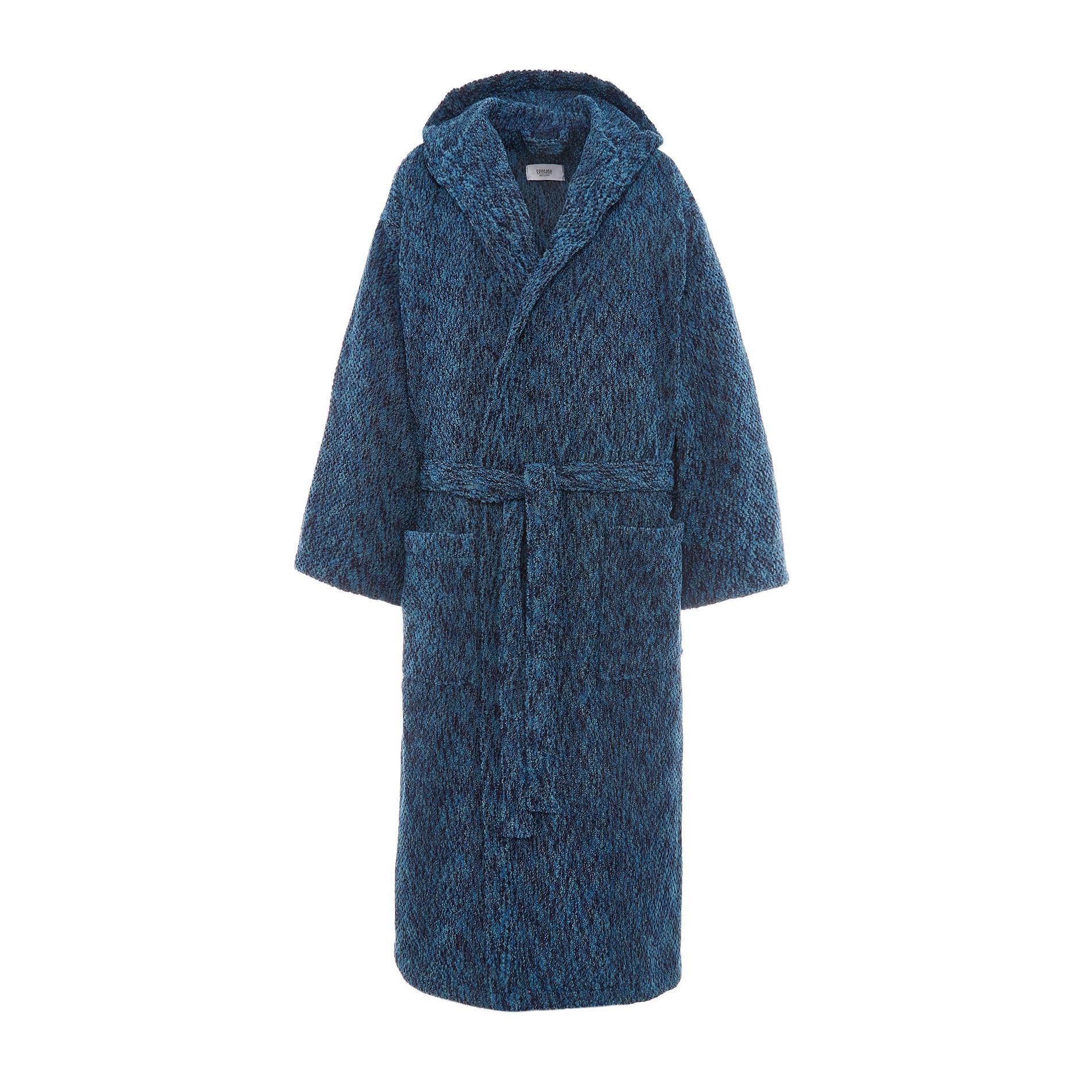 Accappatoio spugna di cotone effetto melange, Blu, large image number 1