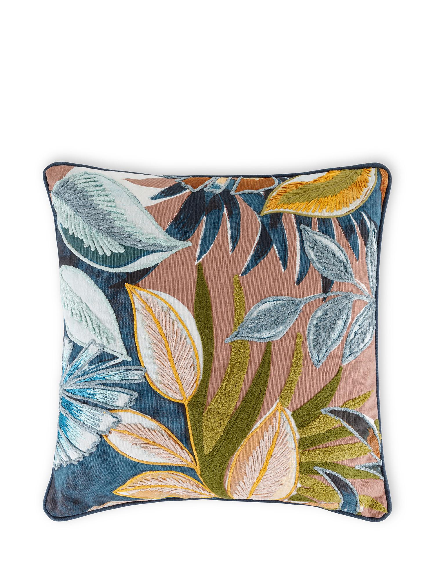 Cuscino cotone ricamo piante 45x45cm, Multicolor, large image number 0