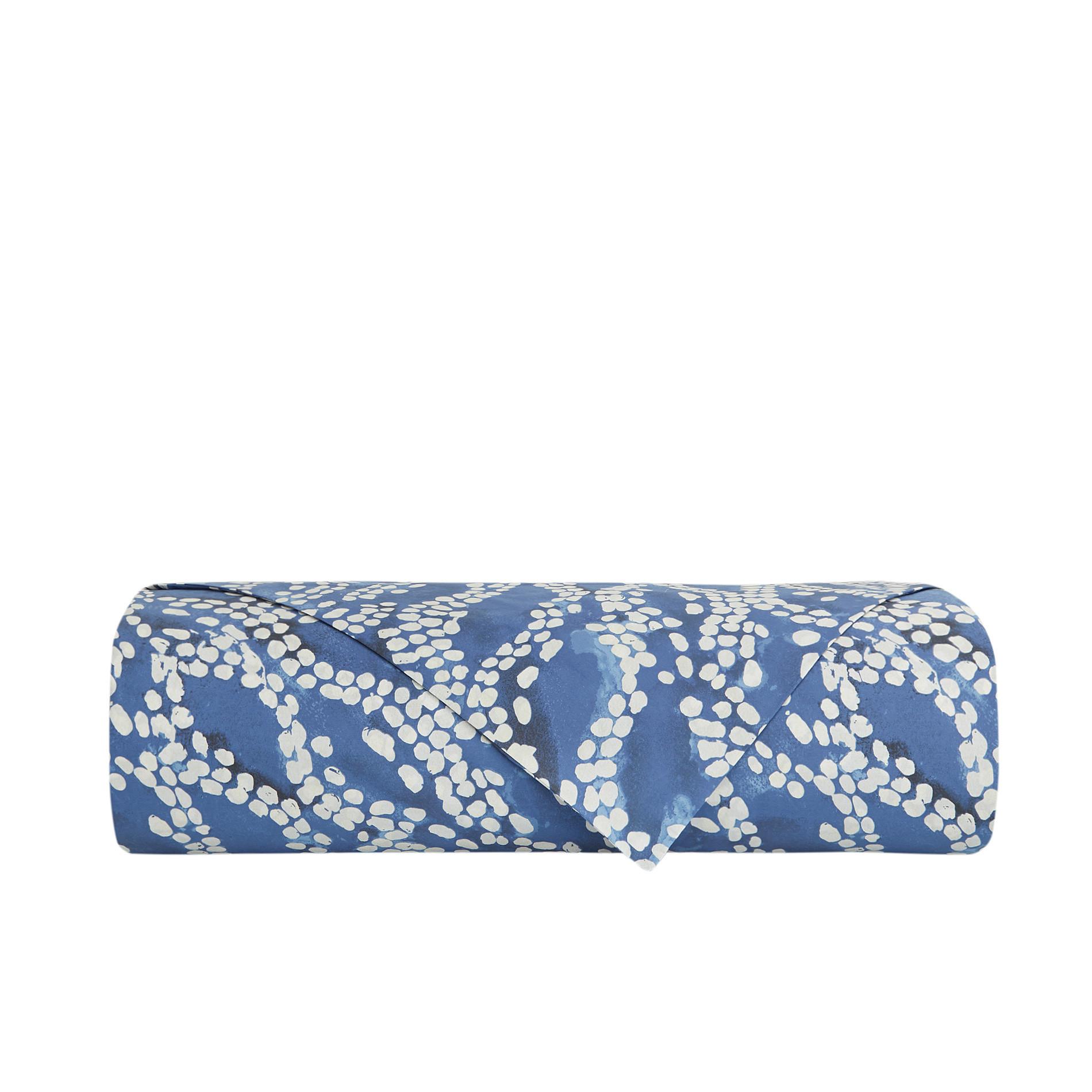 Lenzuolo liscio cotone percalle fantasia a puntini, Blu, large image number 1