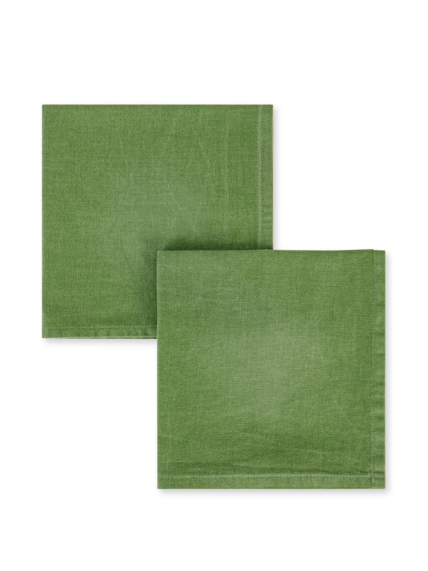 Set 2 tovaglioli puro cotone garment washed, Verde, large image number 0