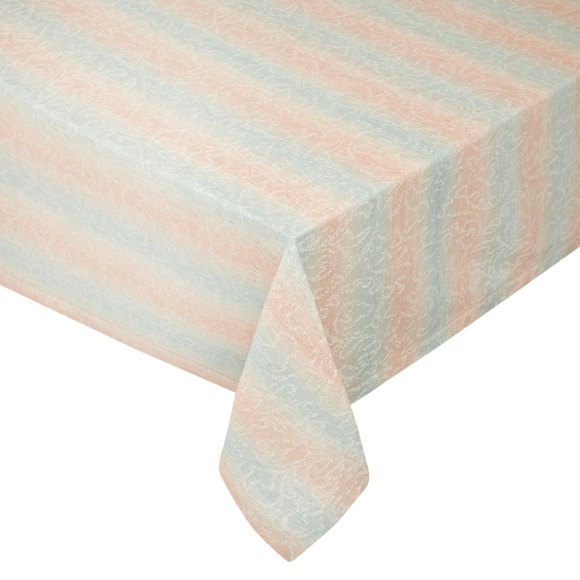 Tovaglia misto cotone stonewashed motivo a righe, Azzurro, large image number 0