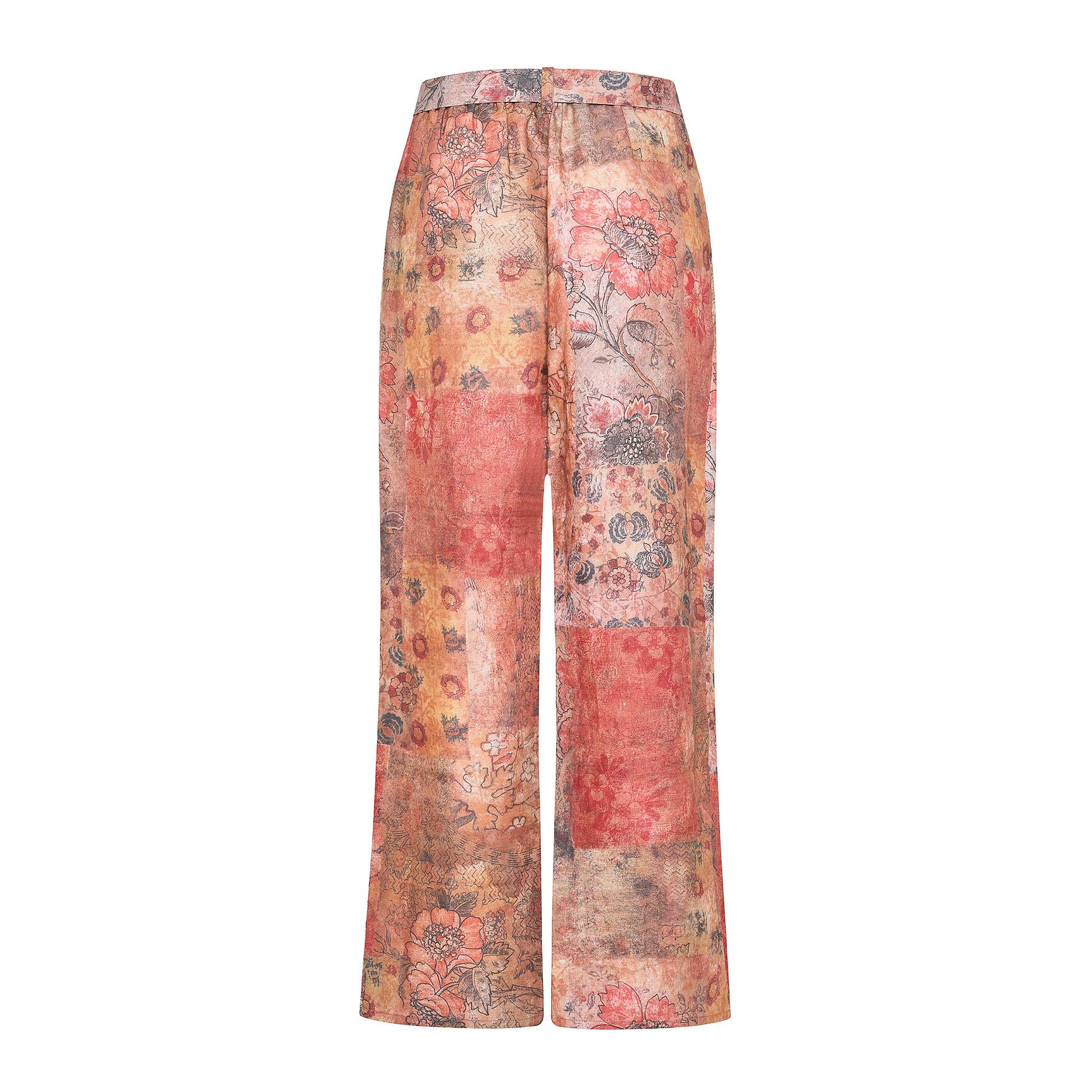 Pantalone morbido in puro lino fantasia floreale, Multicolor, large image number 1