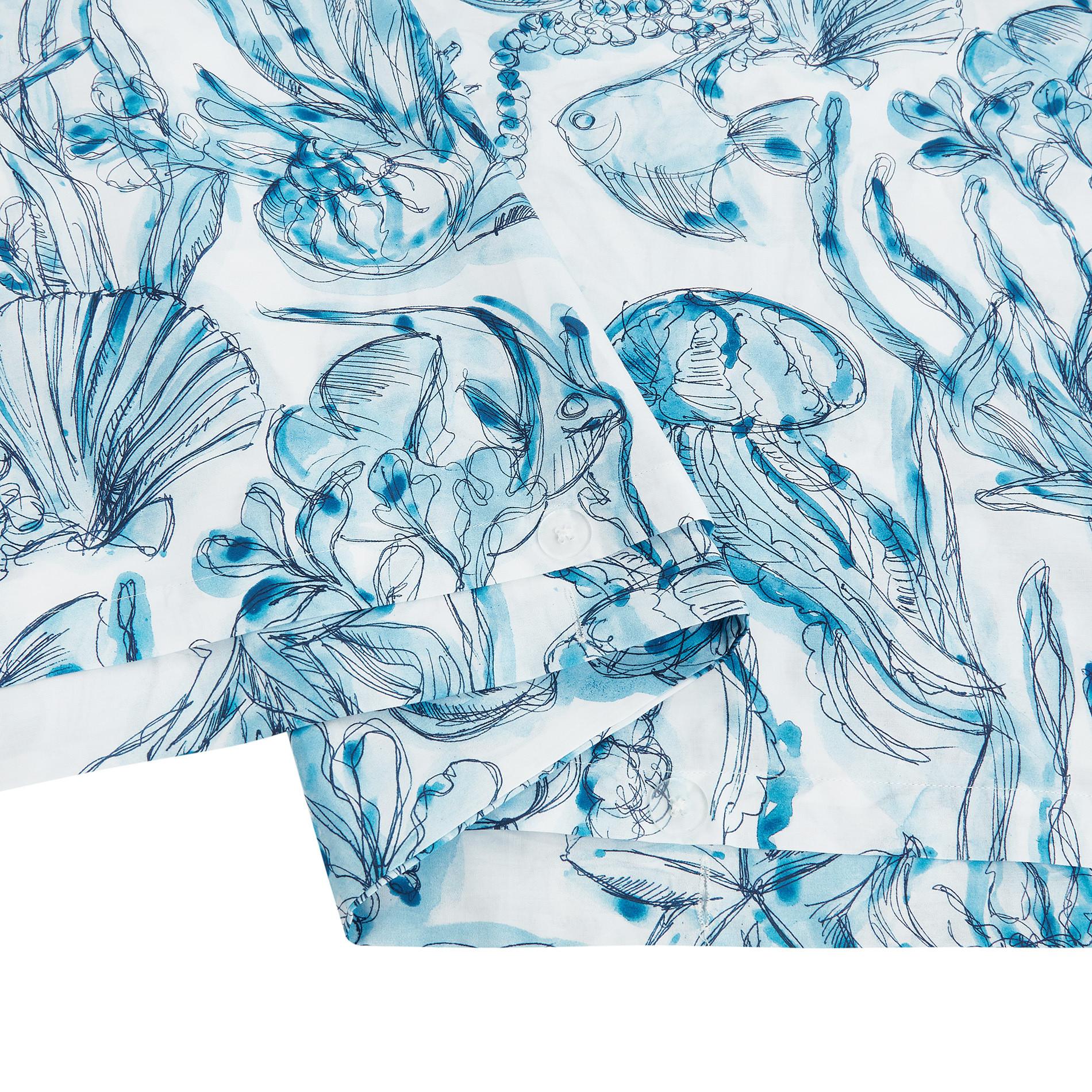 Copripiumino cotone biologico fantasia marina, Blu, large image number 3