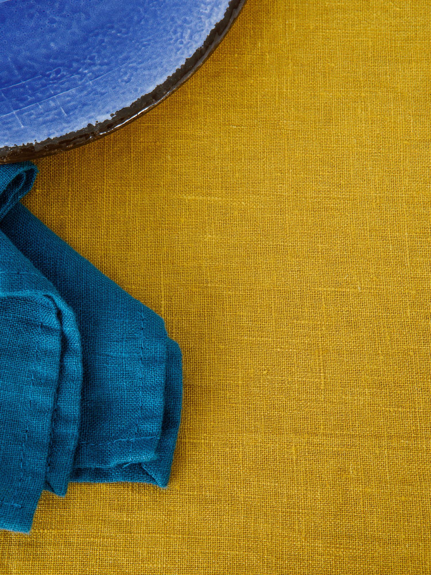 Tovaglia puro lino lavato tinta unita, Giallo ocra, large image number 2