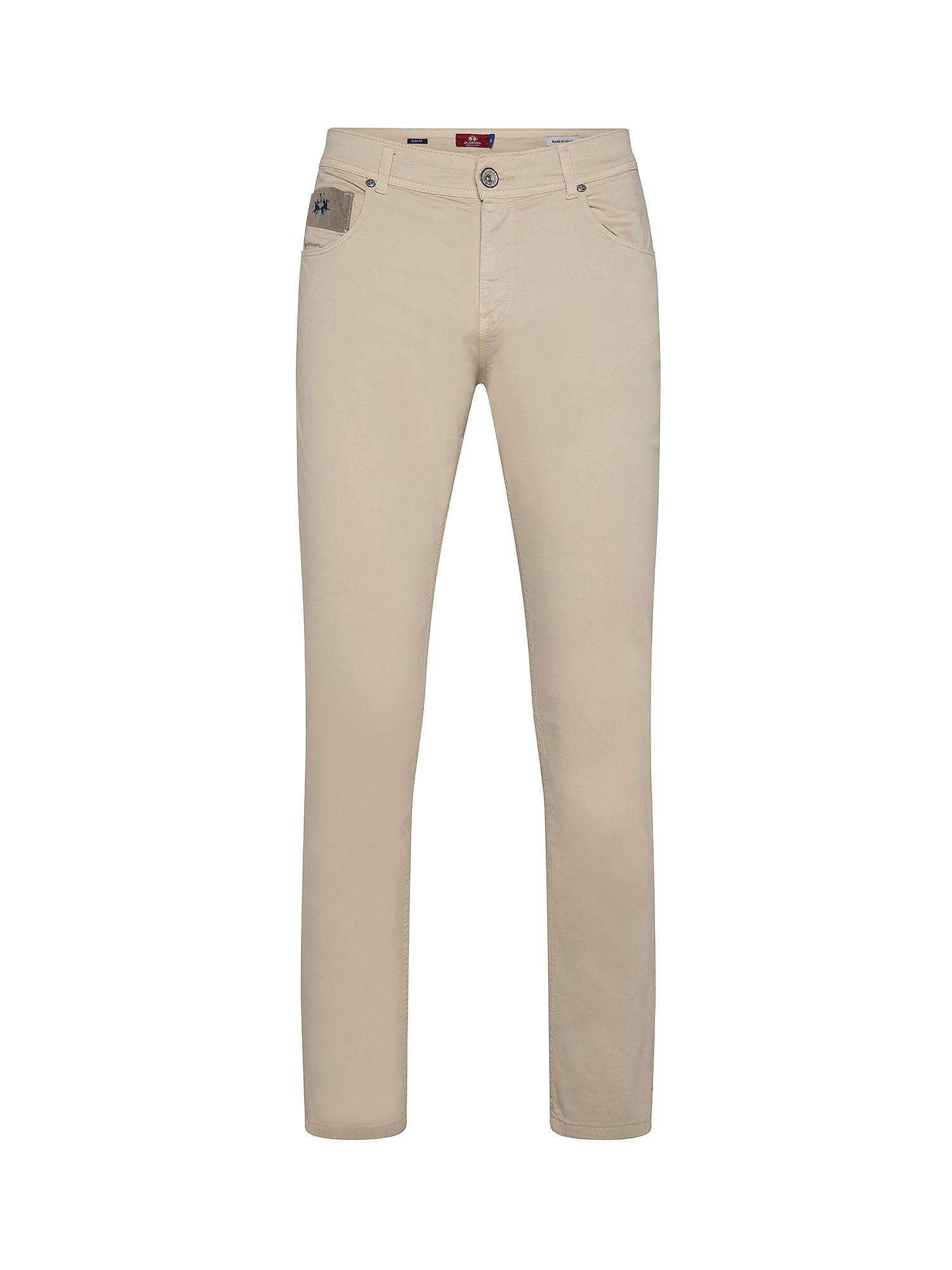 Pantalone da uomo in cotone elasticizzato slim fit, Beige, large image number 0