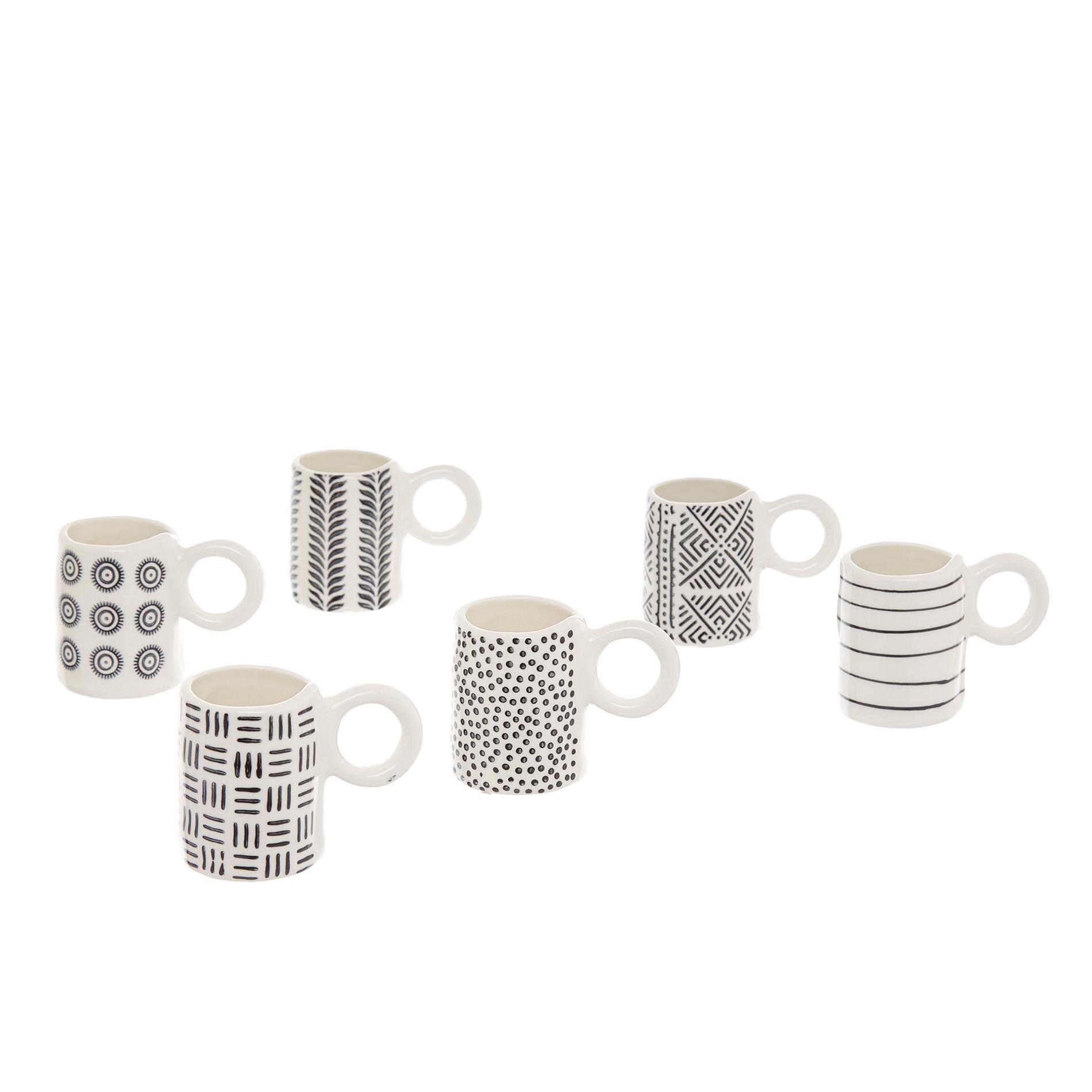 Tazzina caffè ceramica decorata, Bianco/Nero, large image number 0