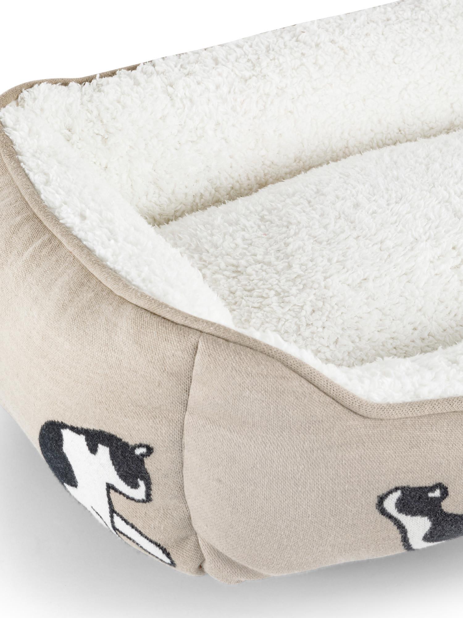 Cuccia gatto in cotone e pelo sherpa, Beige chiaro, large image number 2