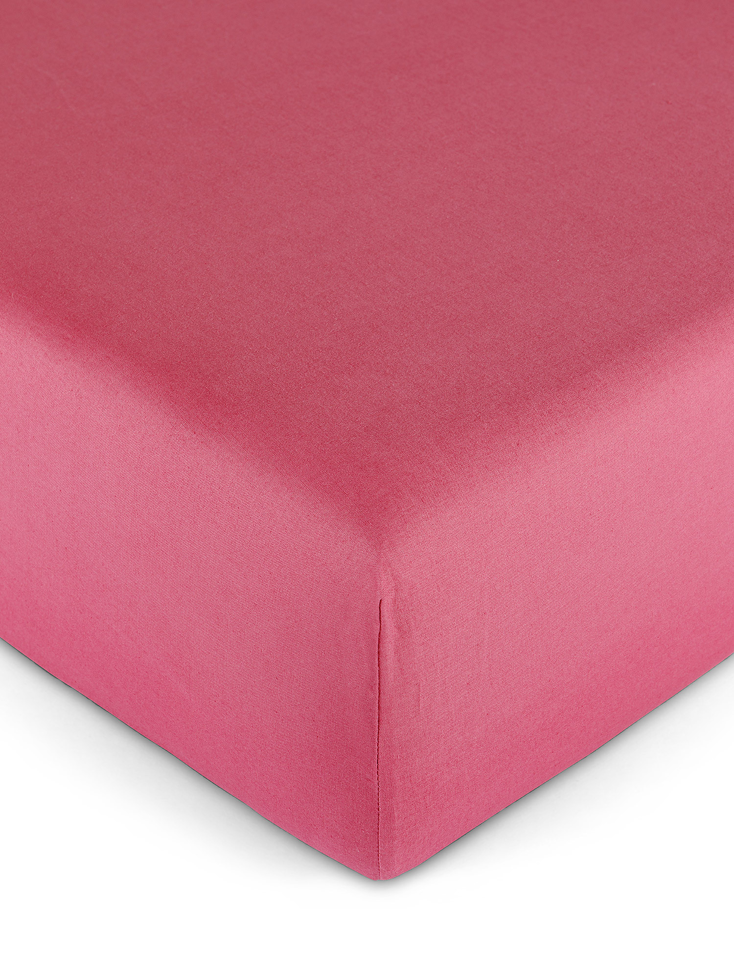 Lenzuolo con angoli puro cotone tinta unita, Rosa scuro, large image number 0