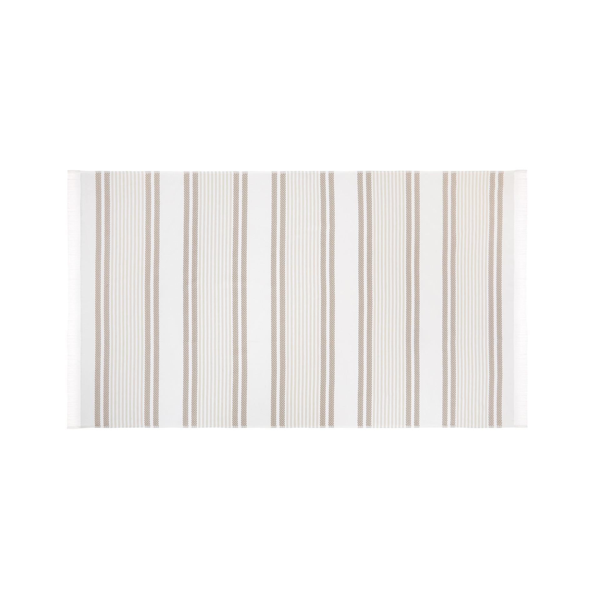 Telo mare hammam cotone jacquard tinto filo a righe, Bianco, large image number 0