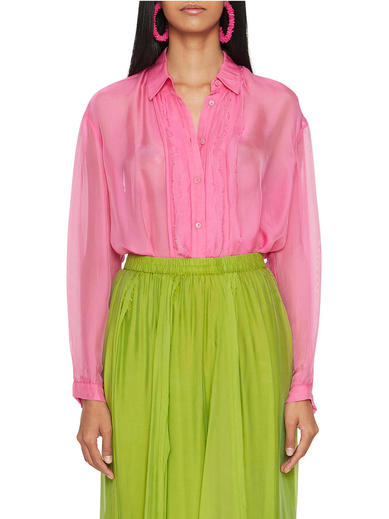 Camicia in chiffon Vanilla, Rosa fuxia, large image number 3