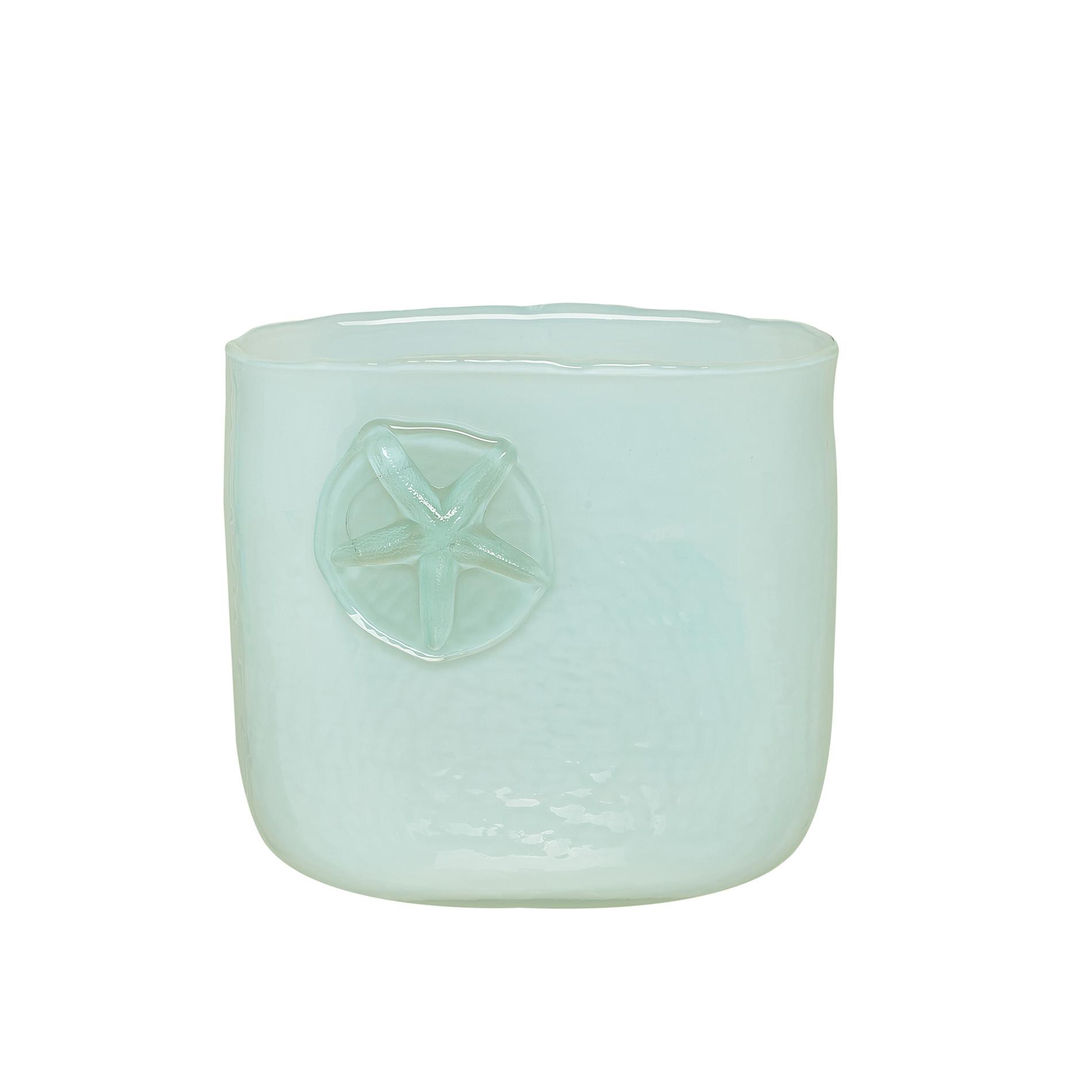 Vaso vetro colorato in pasta decori marini, Trasparente, large image number 0