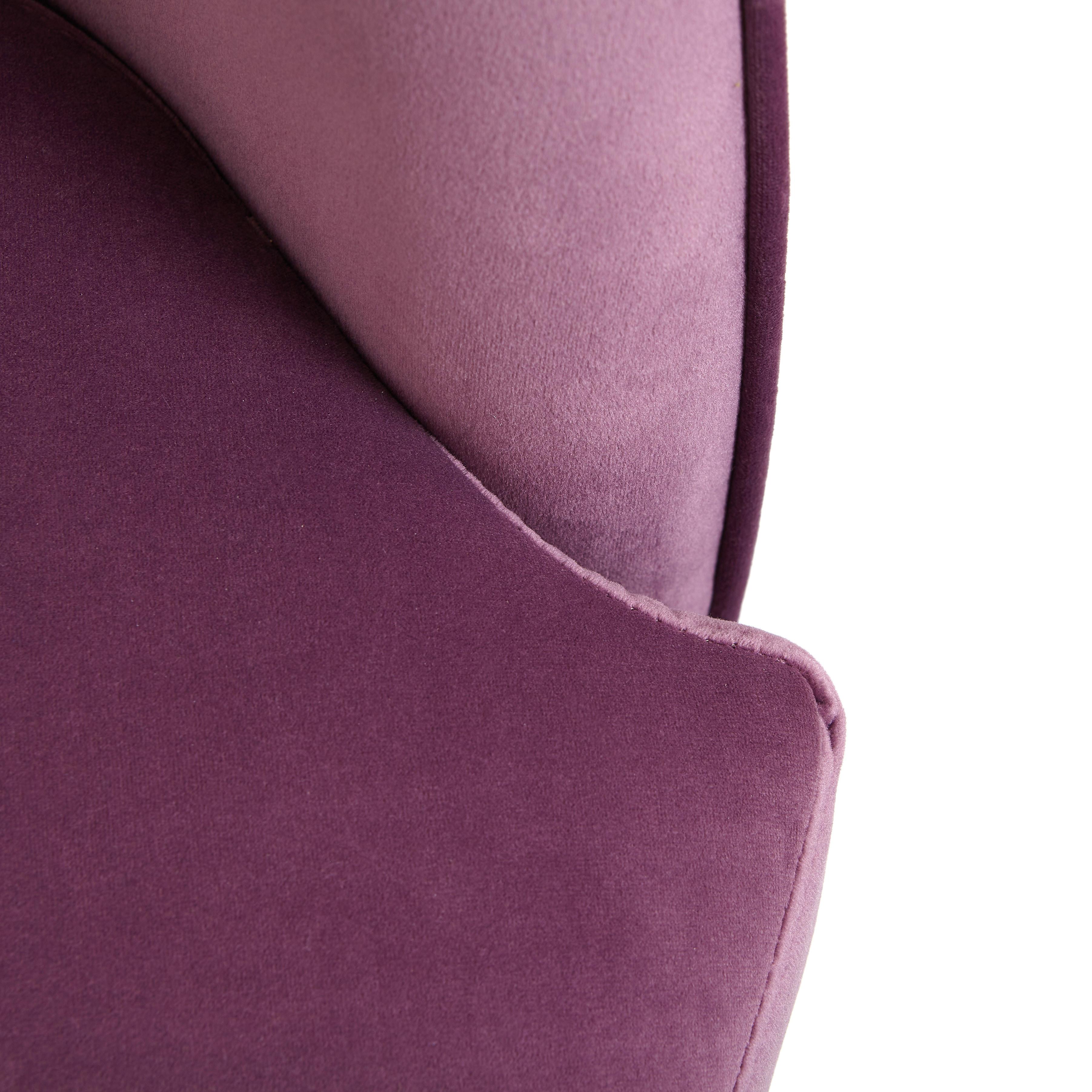 Poltrona velluto e ferro Lilli, Viola lilla, large image number 2