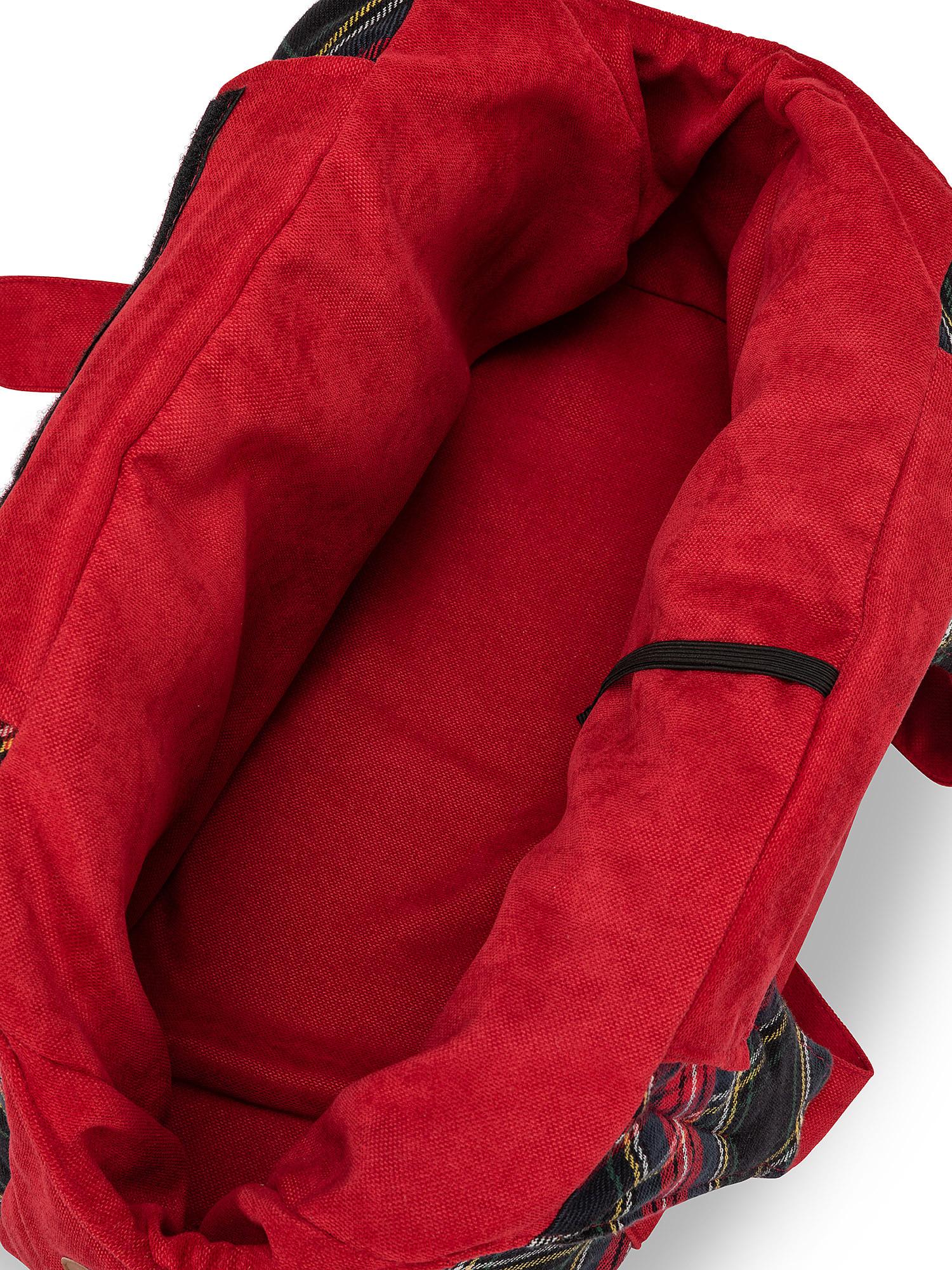 Borsa trasportino motivo tartan, Rosso, large image number 1