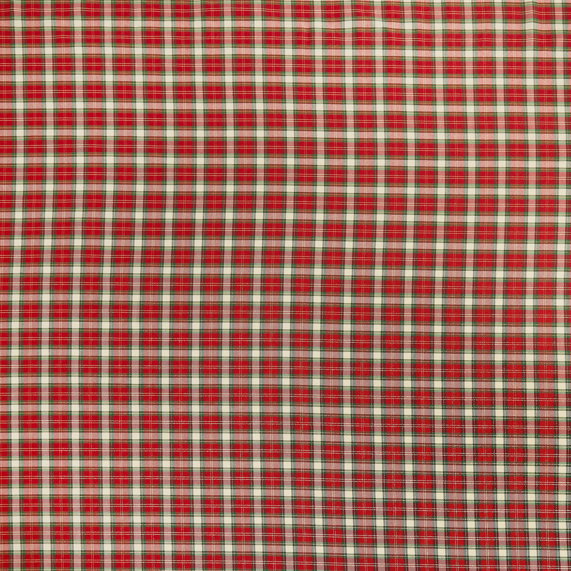 Tovaglia misto cotone tartan con lurex, Rosso, large image number 1