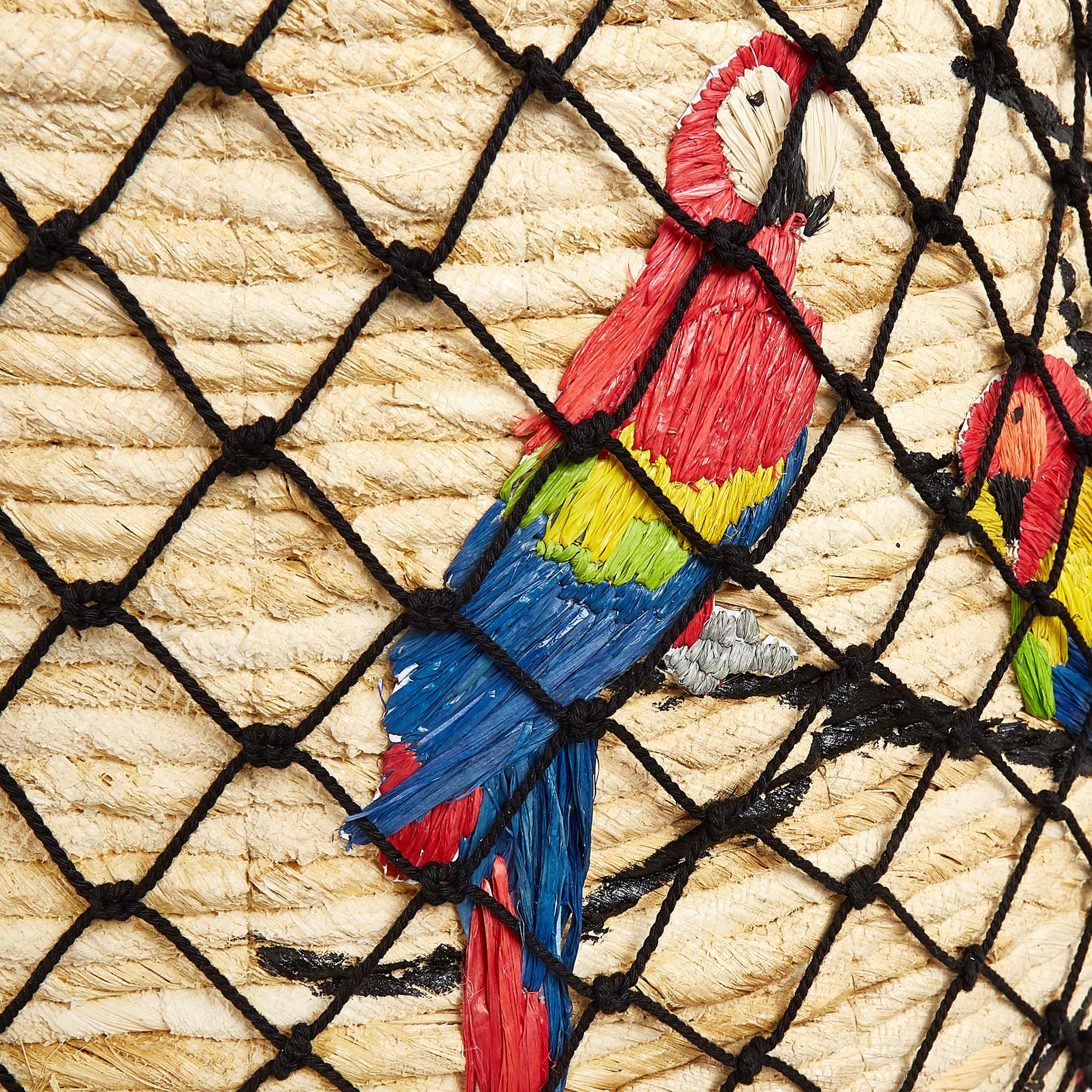 Cesto paglia intrecciata a mano decoro pappagalli, Trasparente, large image number 1