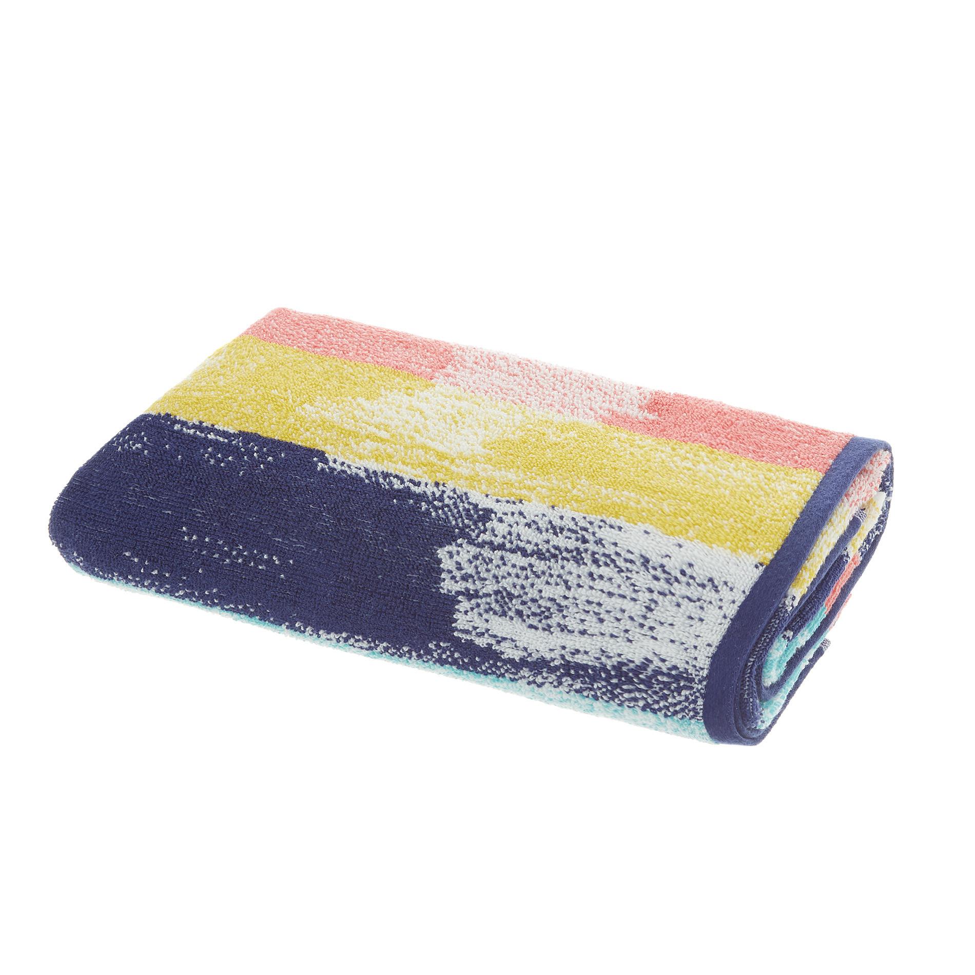 Asciugamano spugna di cotone fantasia pennellate, Multicolor, large image number 1