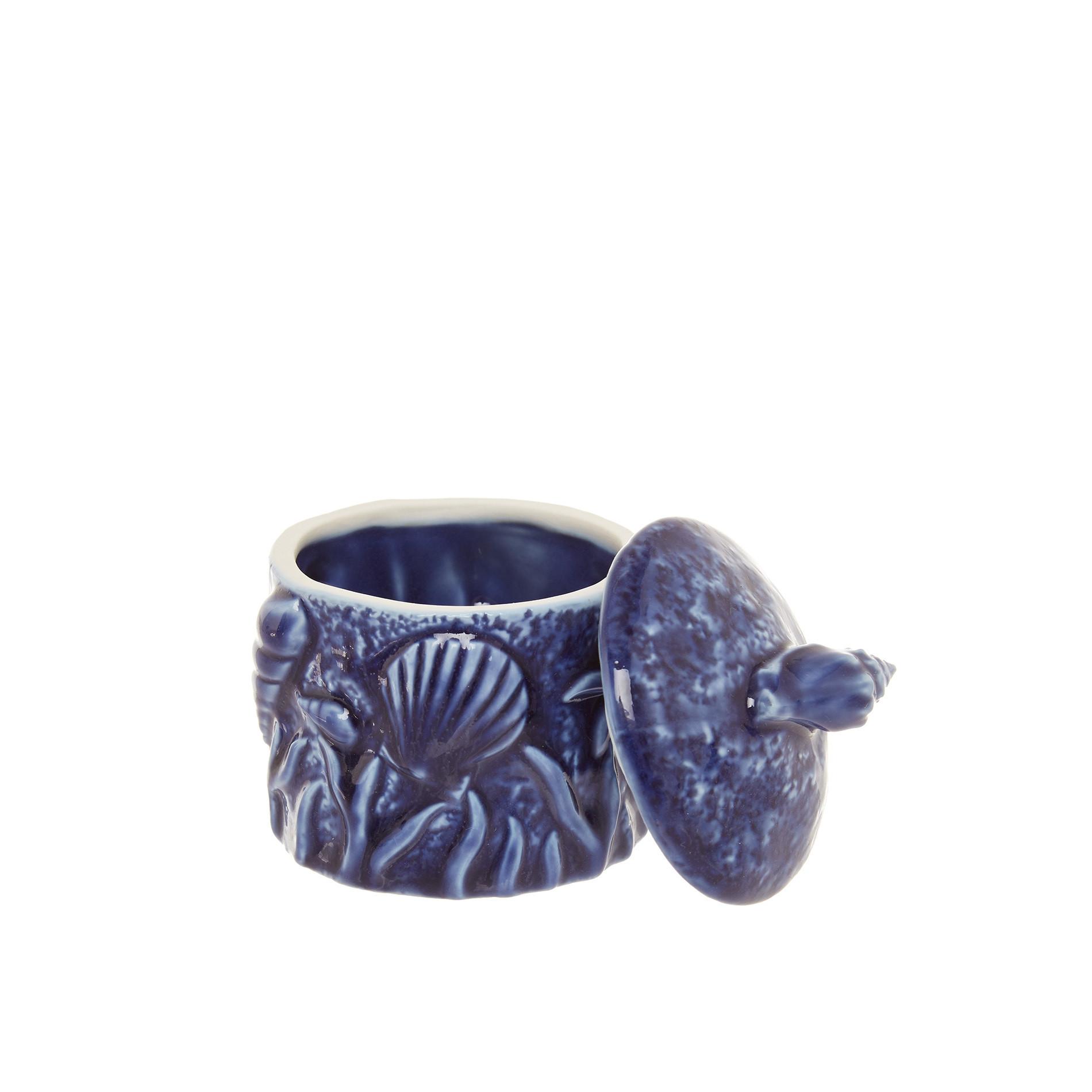 Barattolo porcellana decoro marino, Blu, large image number 1