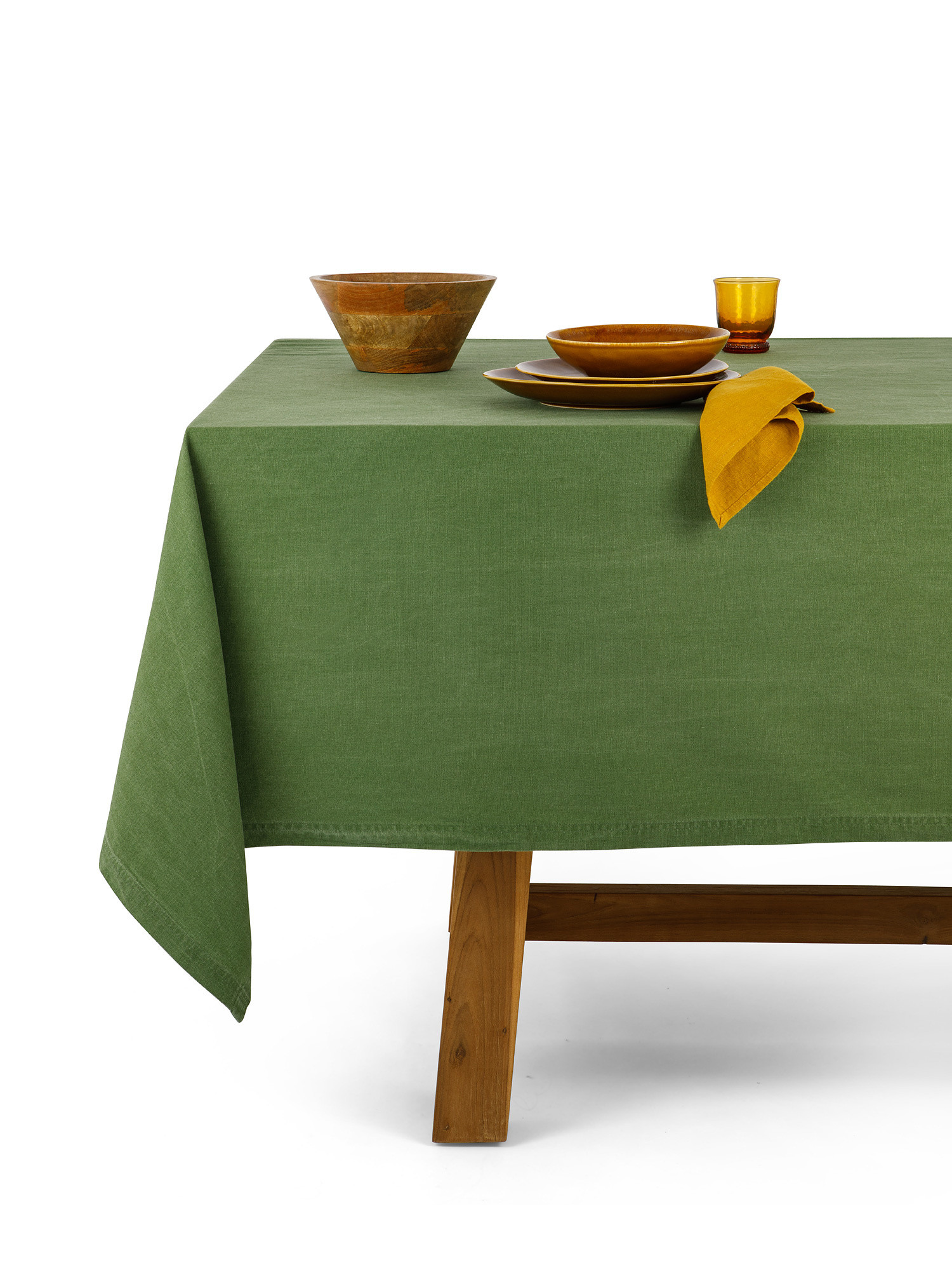 Tovaglia puro cotone garment washed tinta unita, Verde, large image number 0