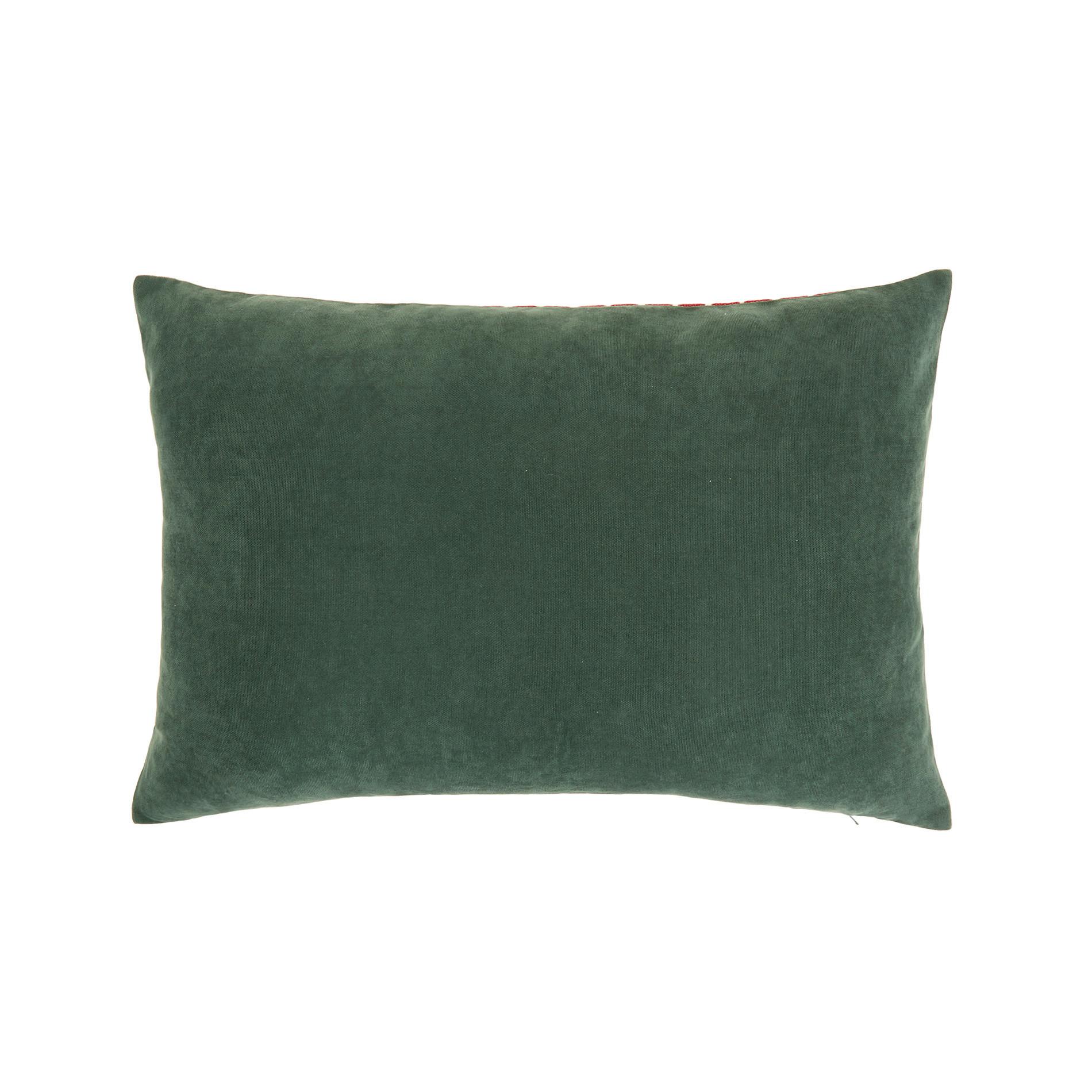 Cuscino jacquard motivo natalizio 35x55cm, Verde scuro, large image number 1