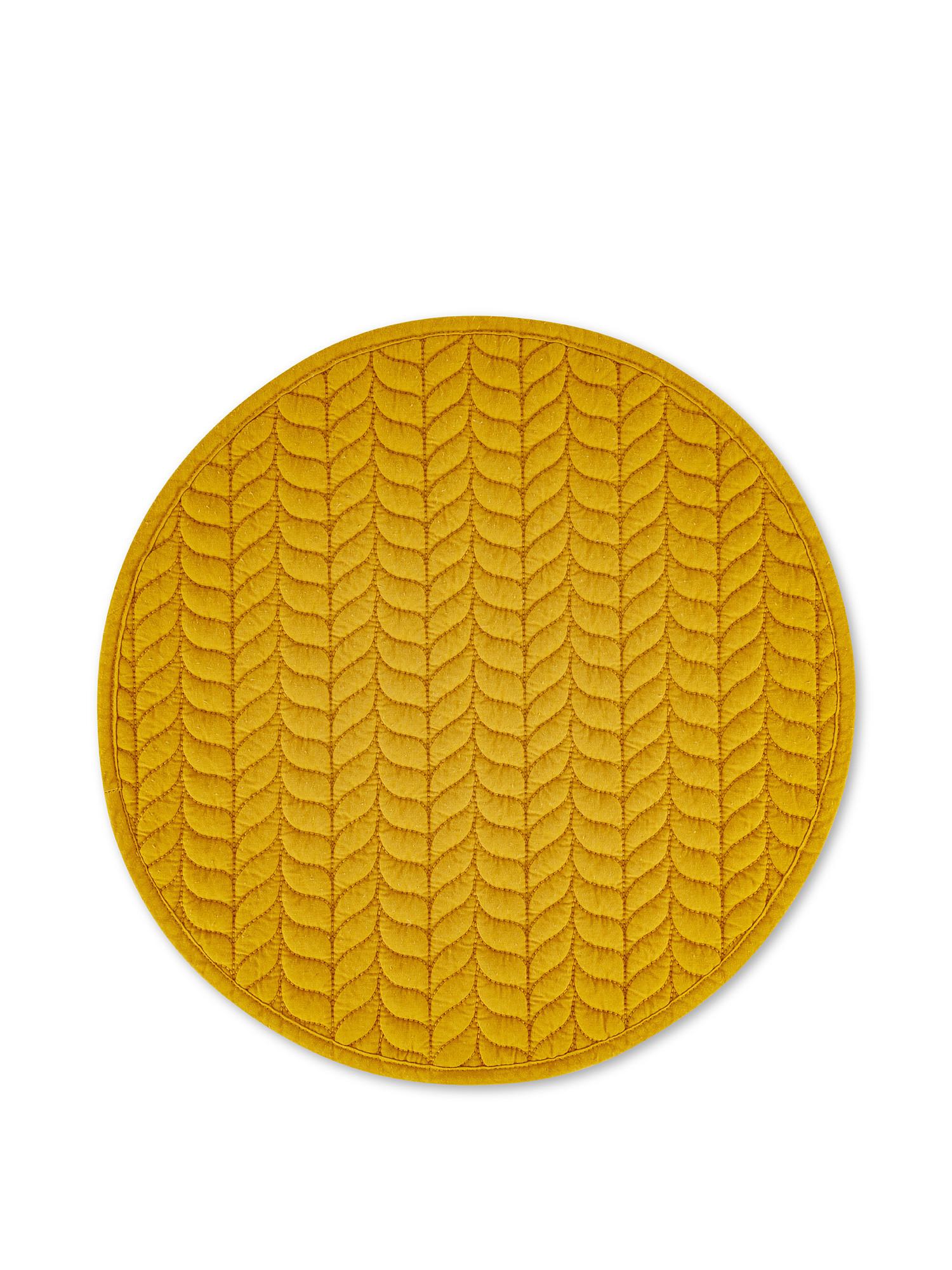 Tovaglietta puro cotone trapuntato motivo foglie, Giallo, large image number 0
