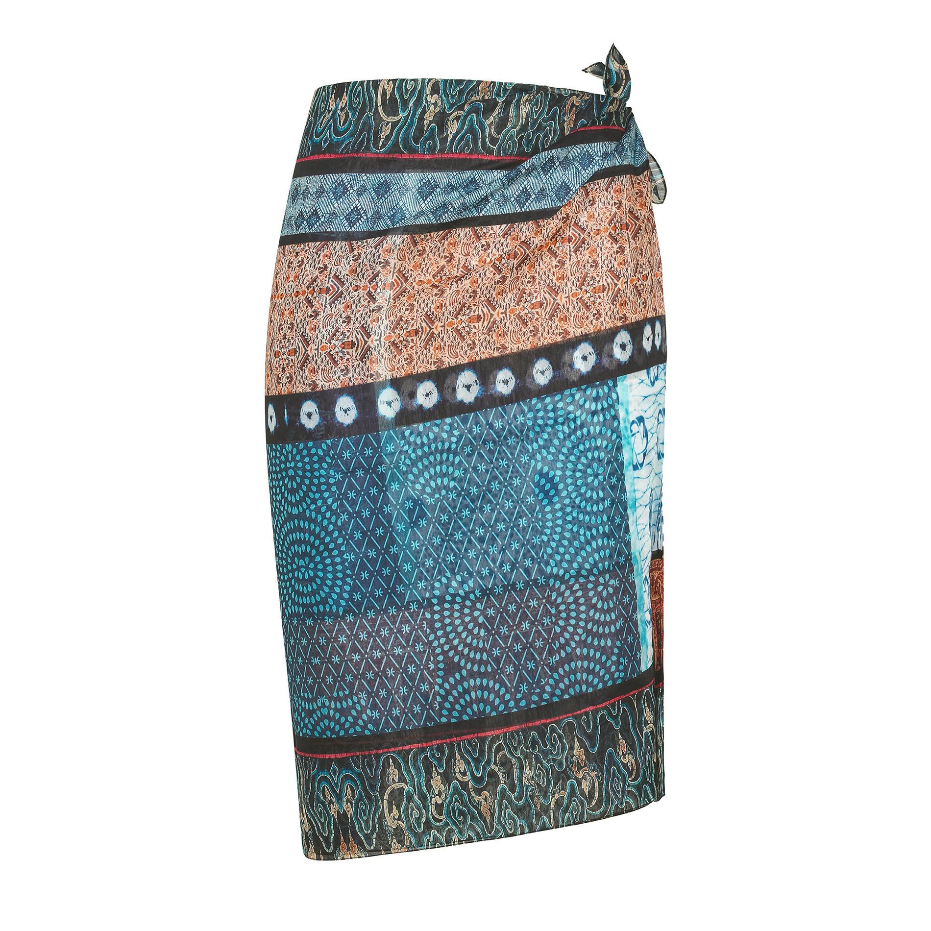 Pareo misto seta stampa india Koan, Blu, large image number 0