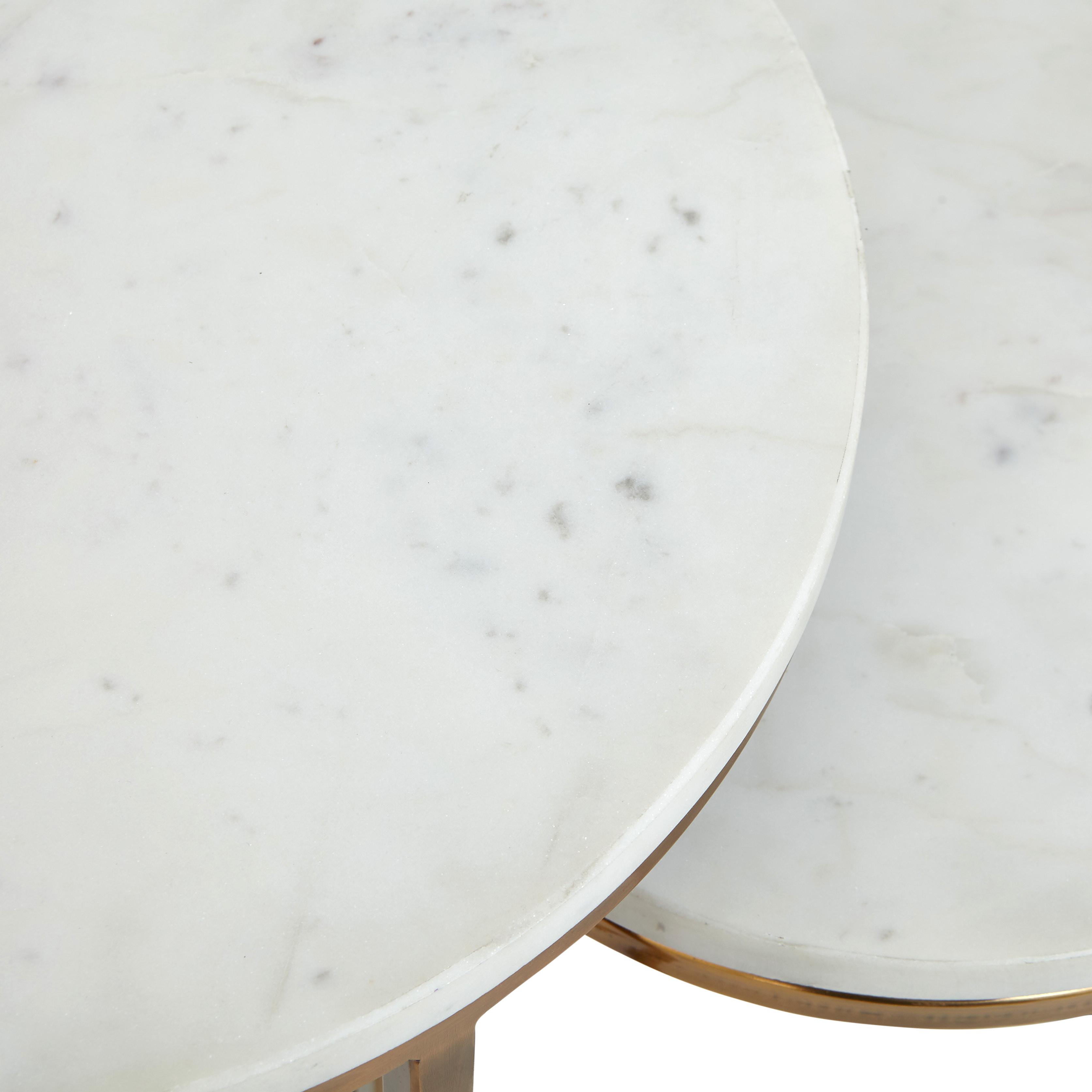Set 2 tavolini acciaio e marmo Marble, Bianco, large image number 3