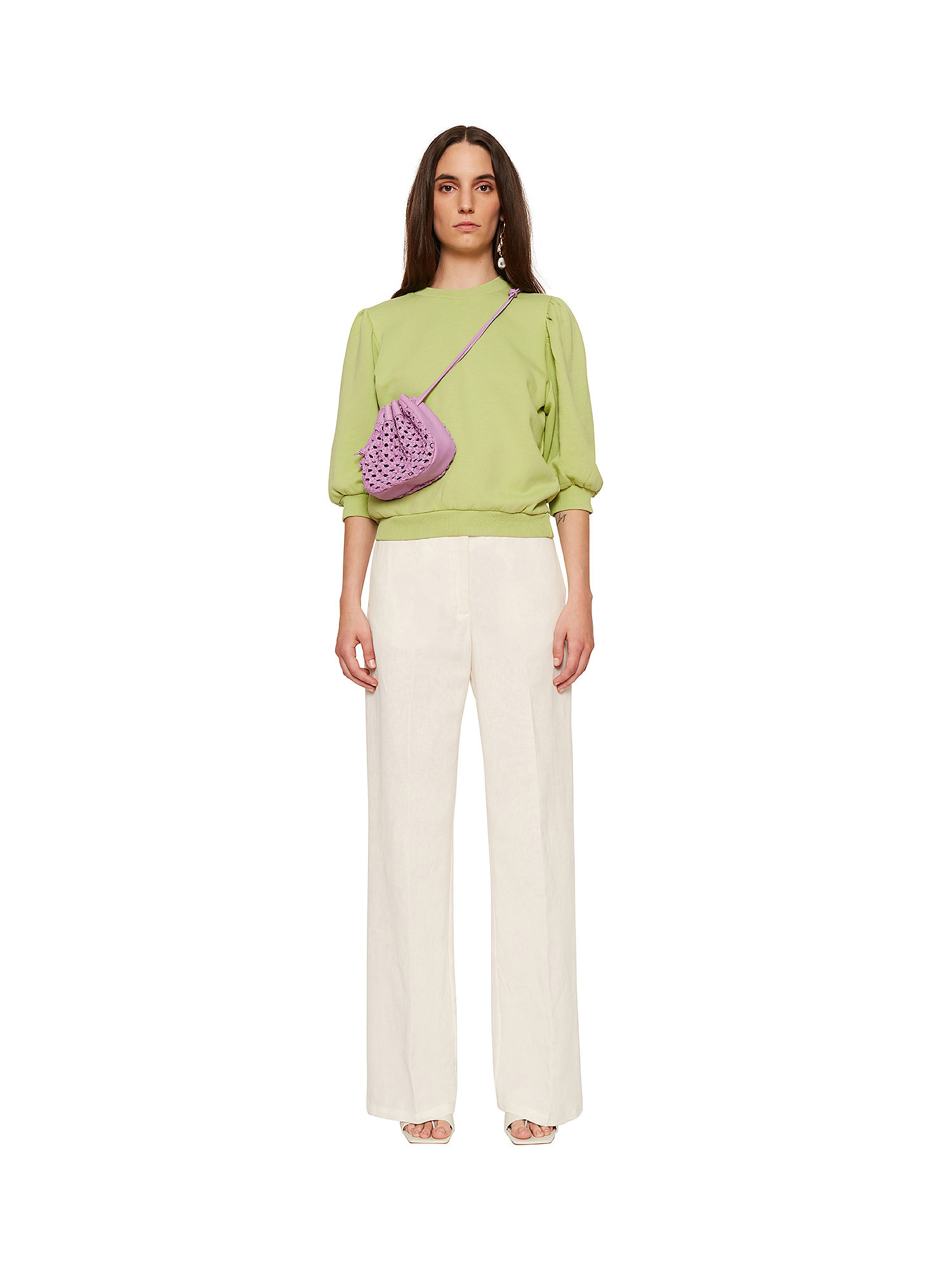Maglia donna in cotone, Verde lime, large image number 1