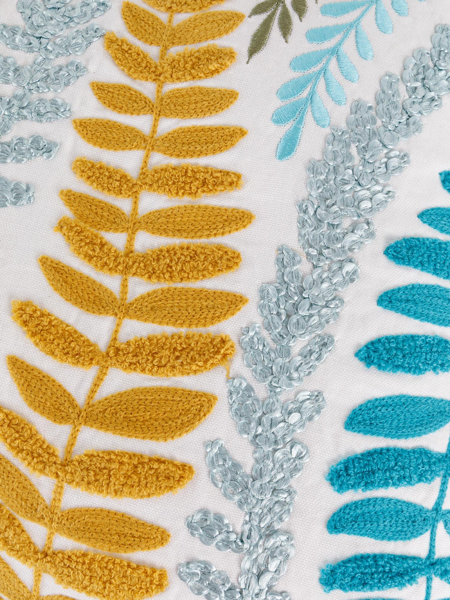 Cuscino cotone ricamo foglie 45x45cm, Multicolor, large image number 2