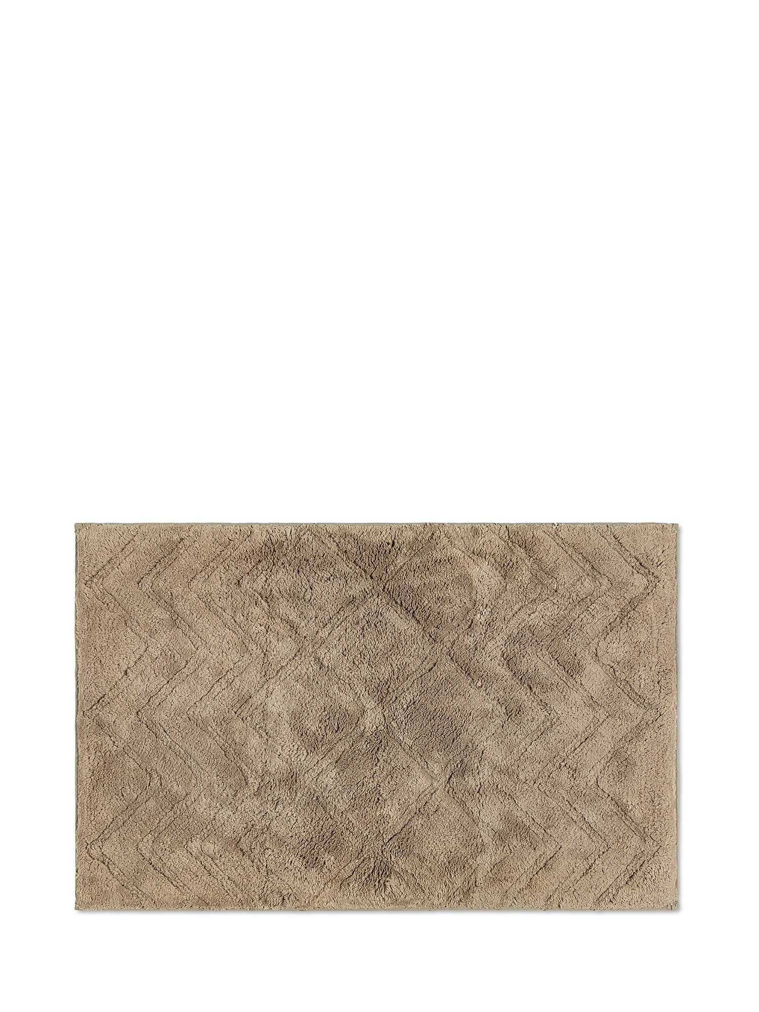Tappeto bagno spugna di cotone motivo a rombi, Beige, large image number 0