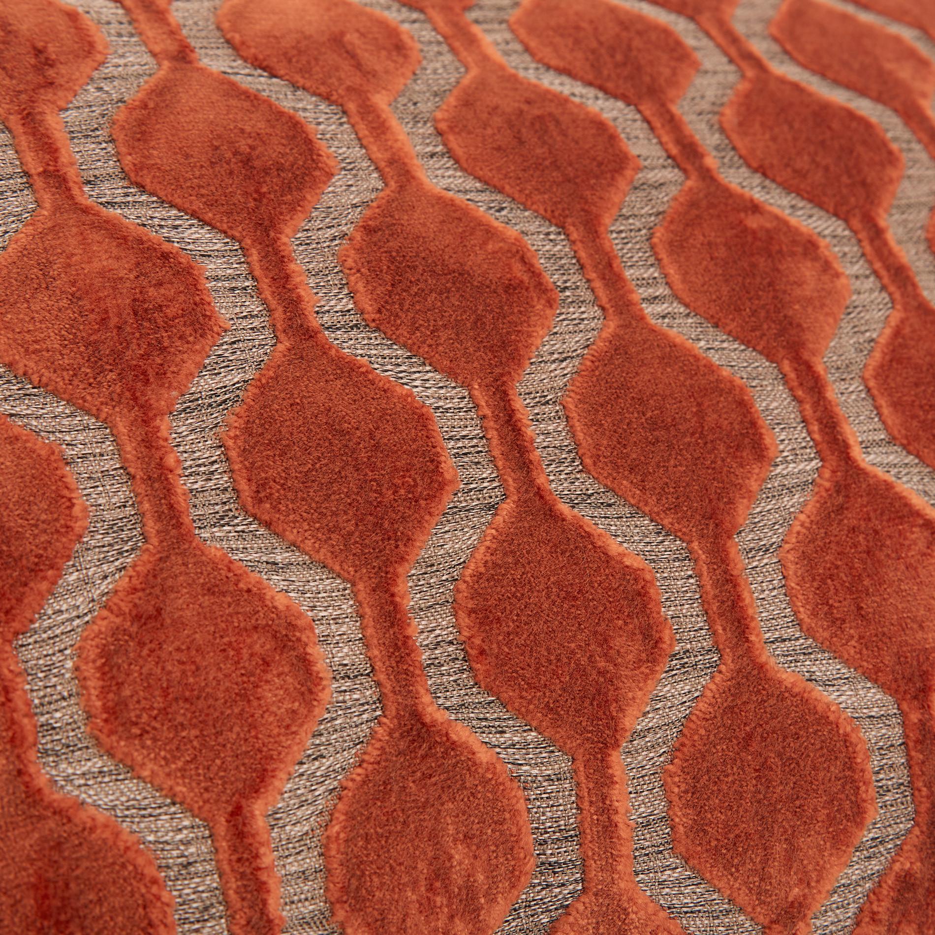 Cuscino velluto motivo geometrico 35x55cm, Marrone chiaro, large image number 3