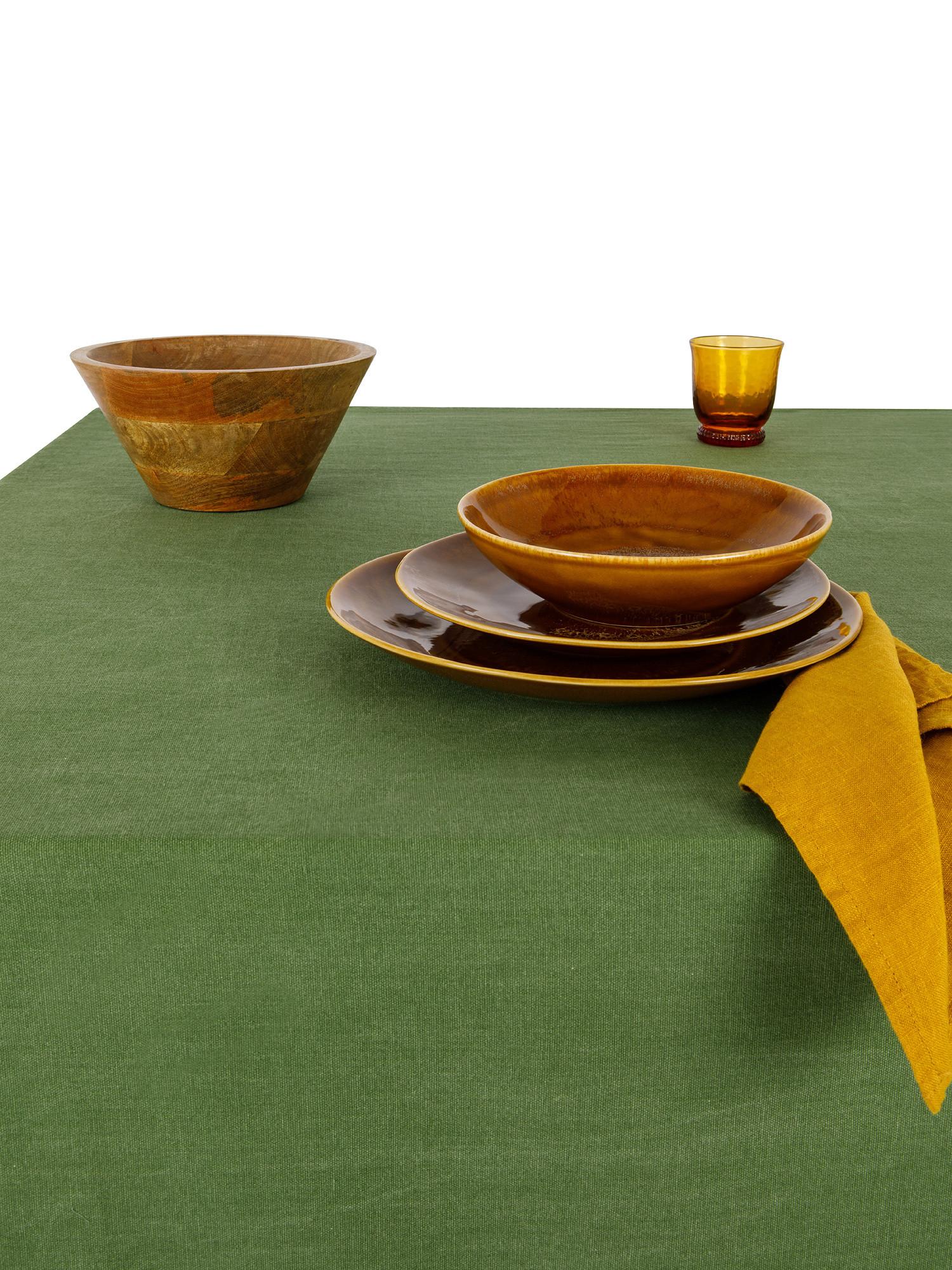 Tovaglia puro cotone garment washed tinta unita, Verde, large image number 1