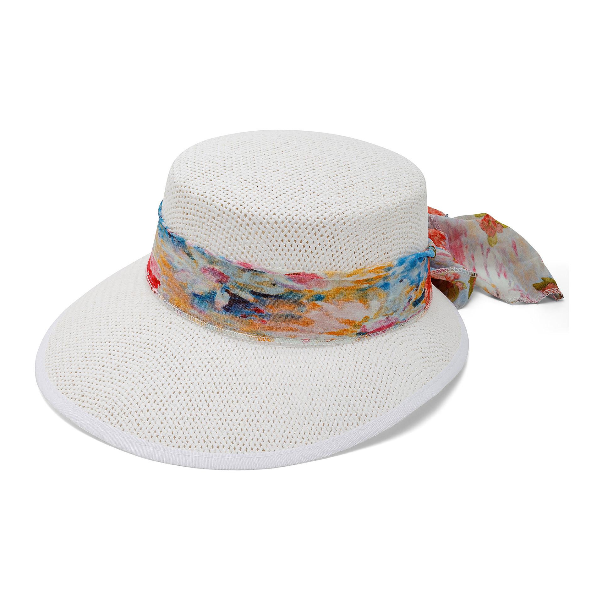 Cappello di paglia con foulard fantasia Koan, Bianco, large image number 0