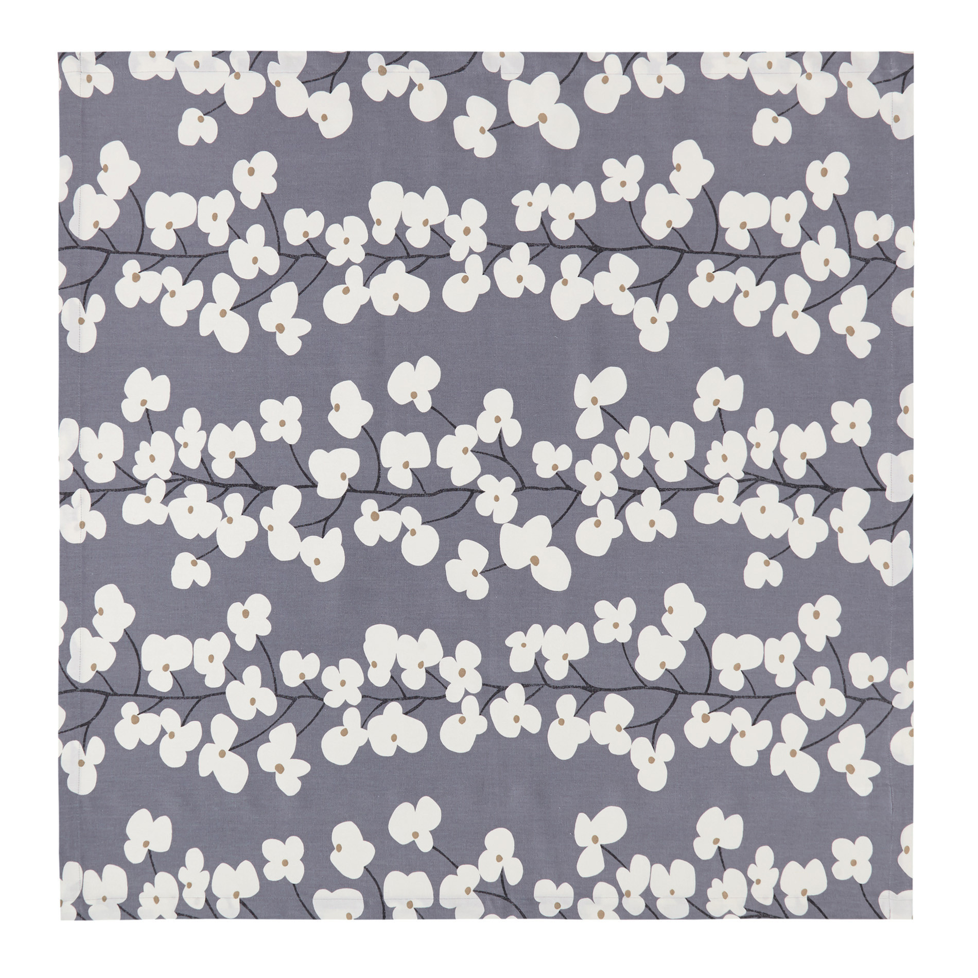Centrotavola cotone stampa fiori, Bianco/Blu, large image number 1
