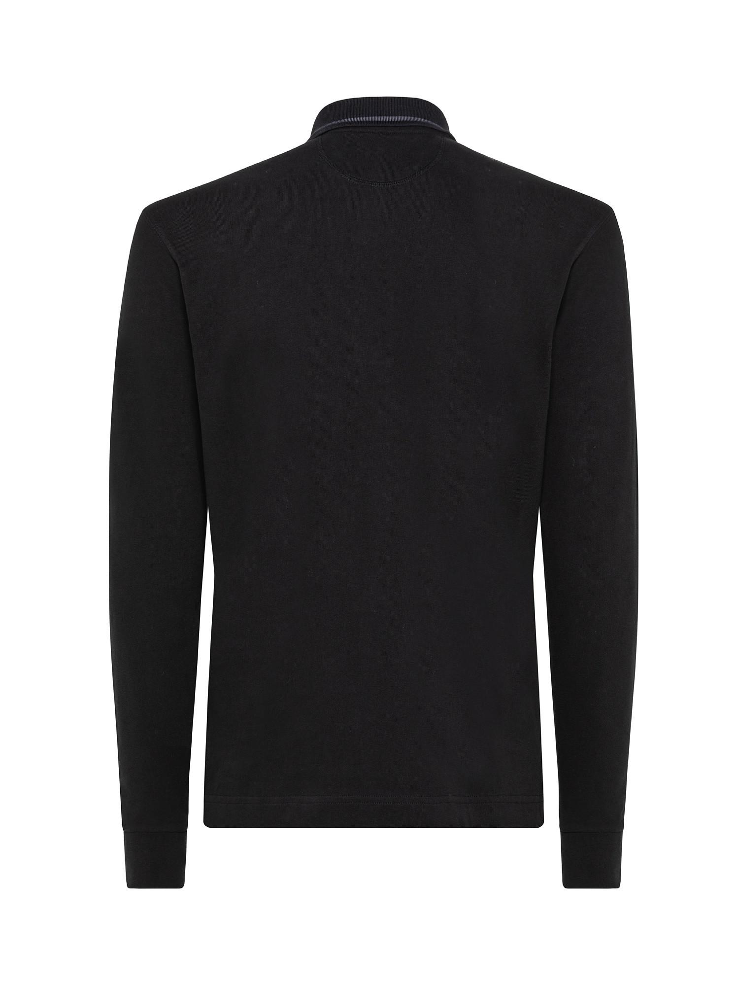 Polo uomo a maniche lunghe in cotone, Nero, large image number 1