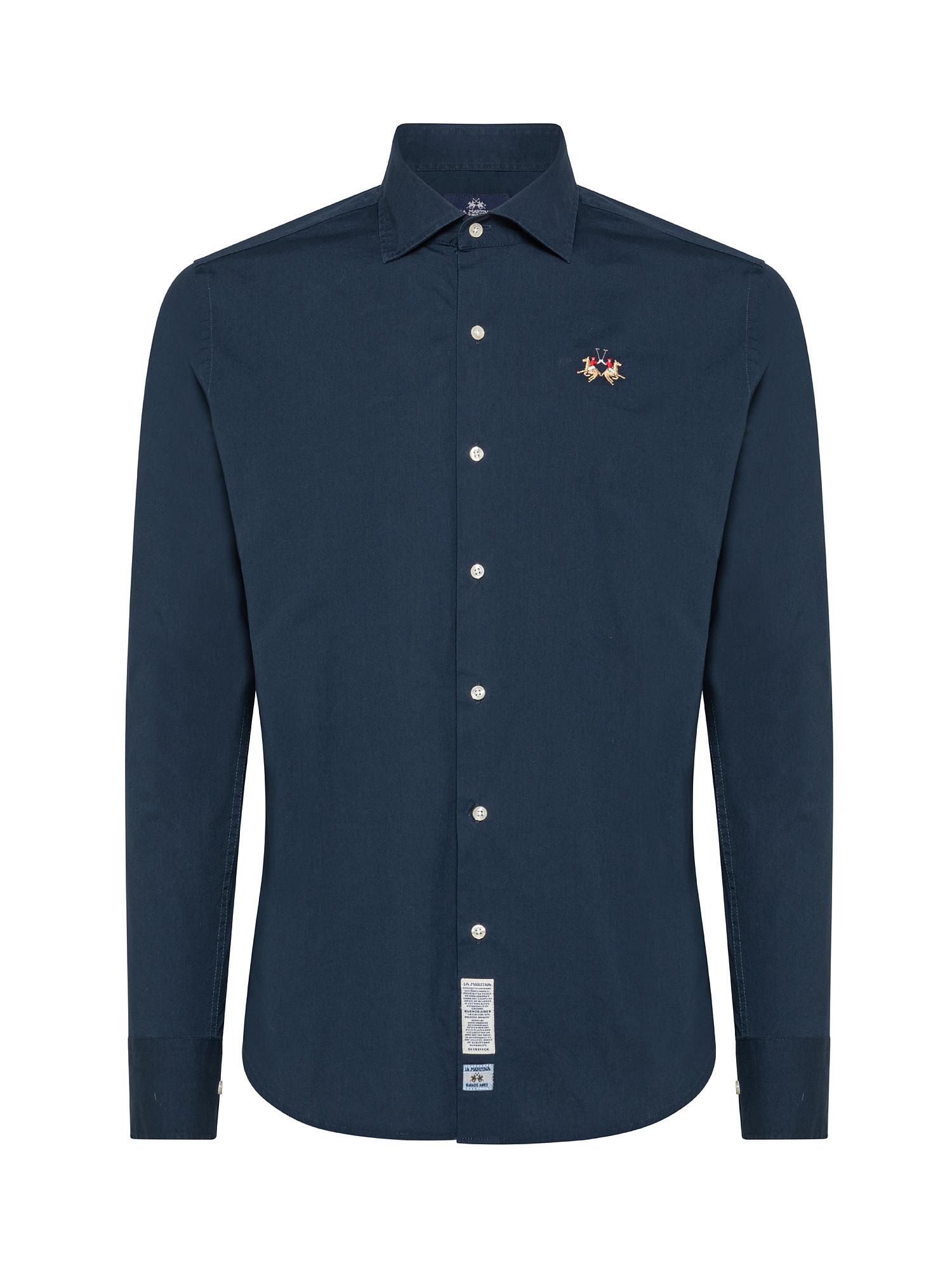 Camicia uomo a maniche lunghe in cotone elasticizzato, Blu, large image number 0