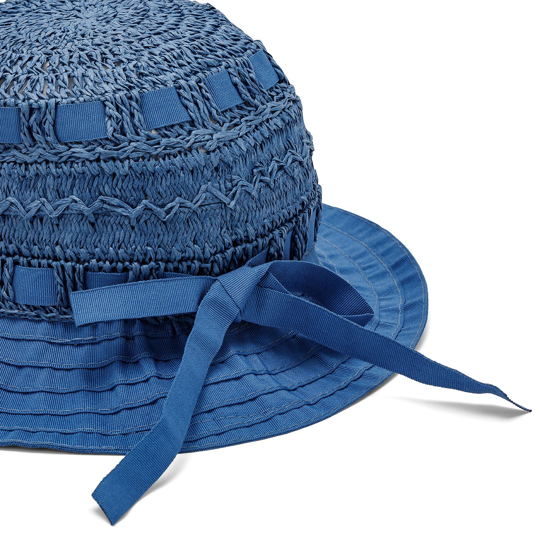 Capello di paglia con merletto Koan, Blu, large image number 1