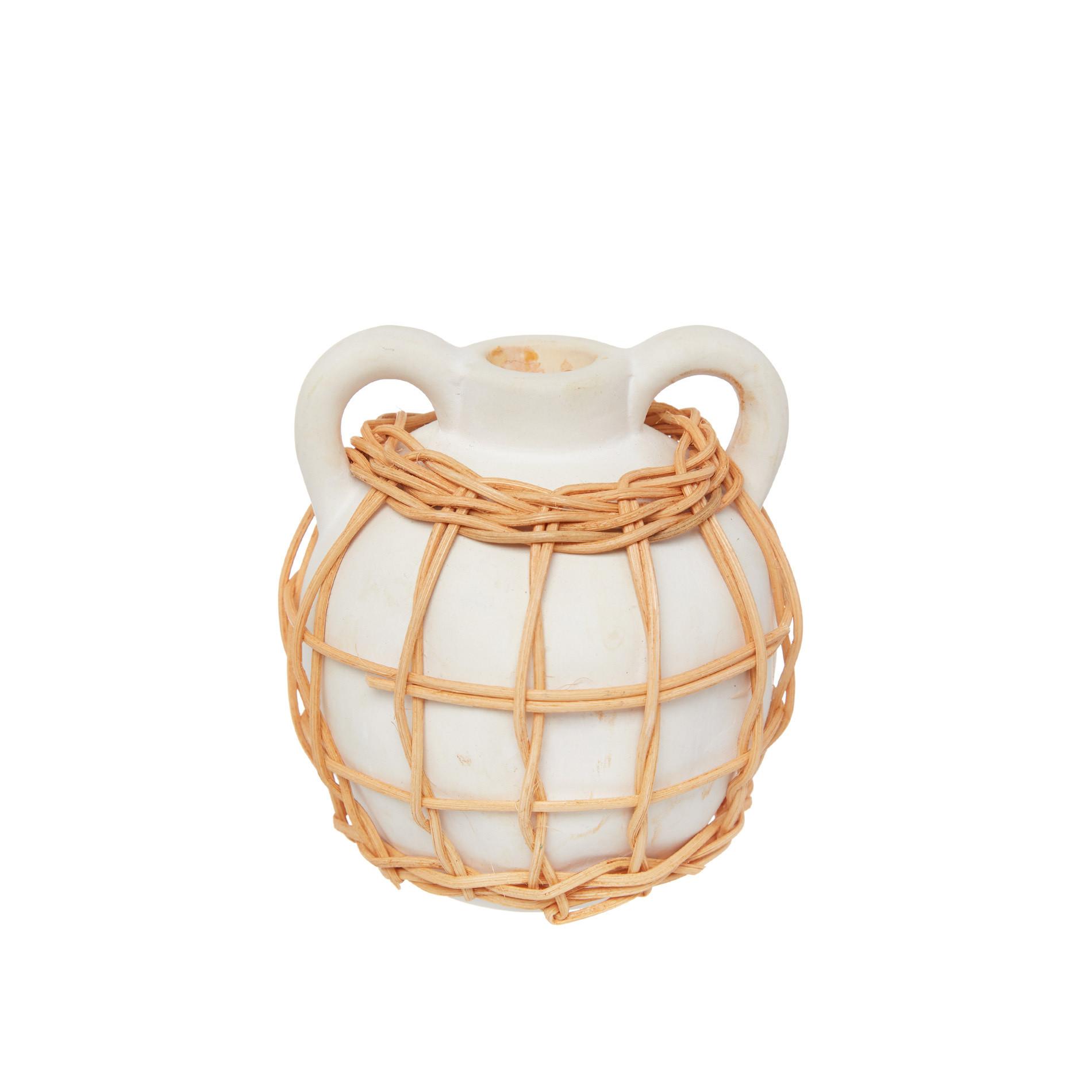 Candeliere ceramica deco rattan, Bianco, large image number 0