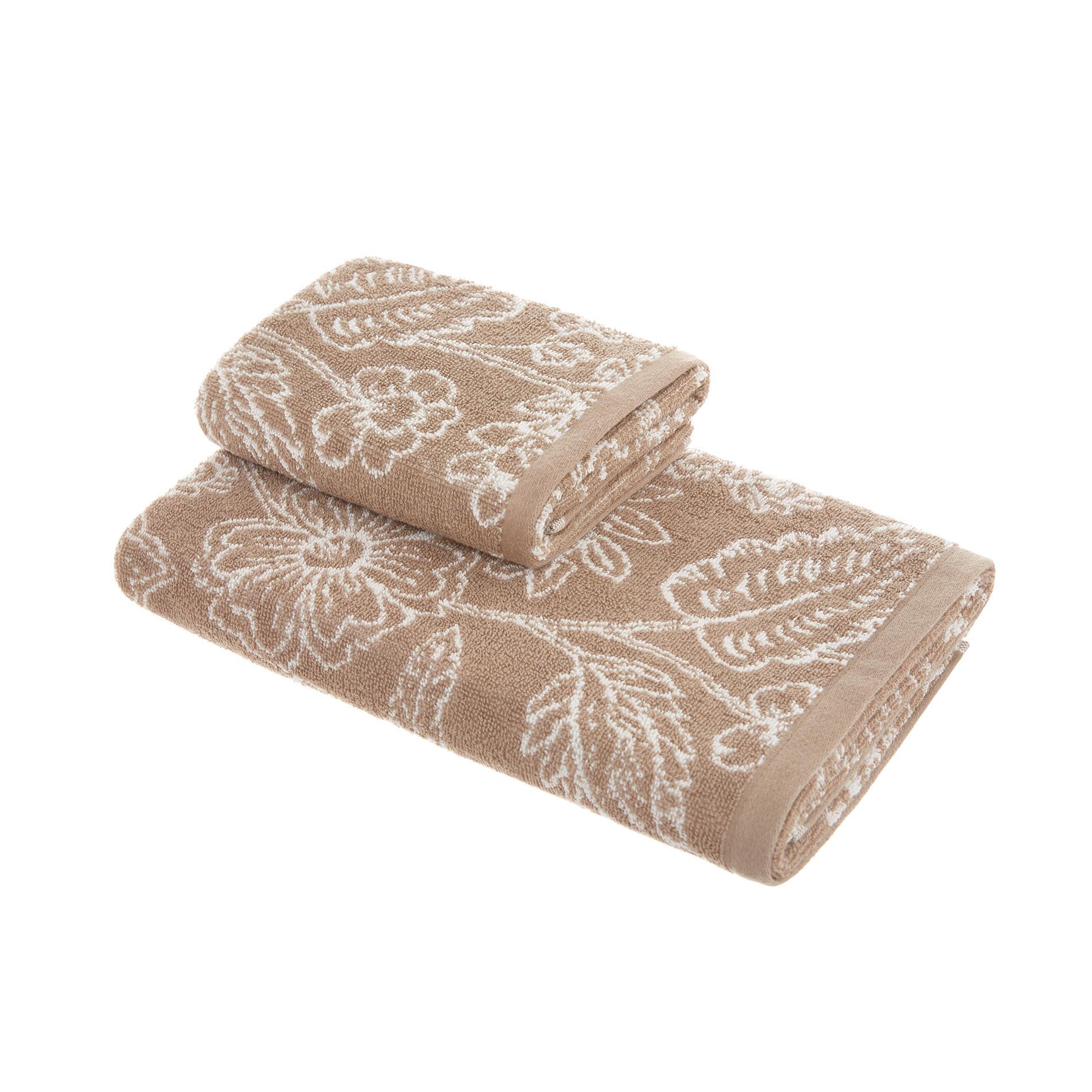Asciugamano spugna di cotone fantasia floreale, Beige, large image number 0