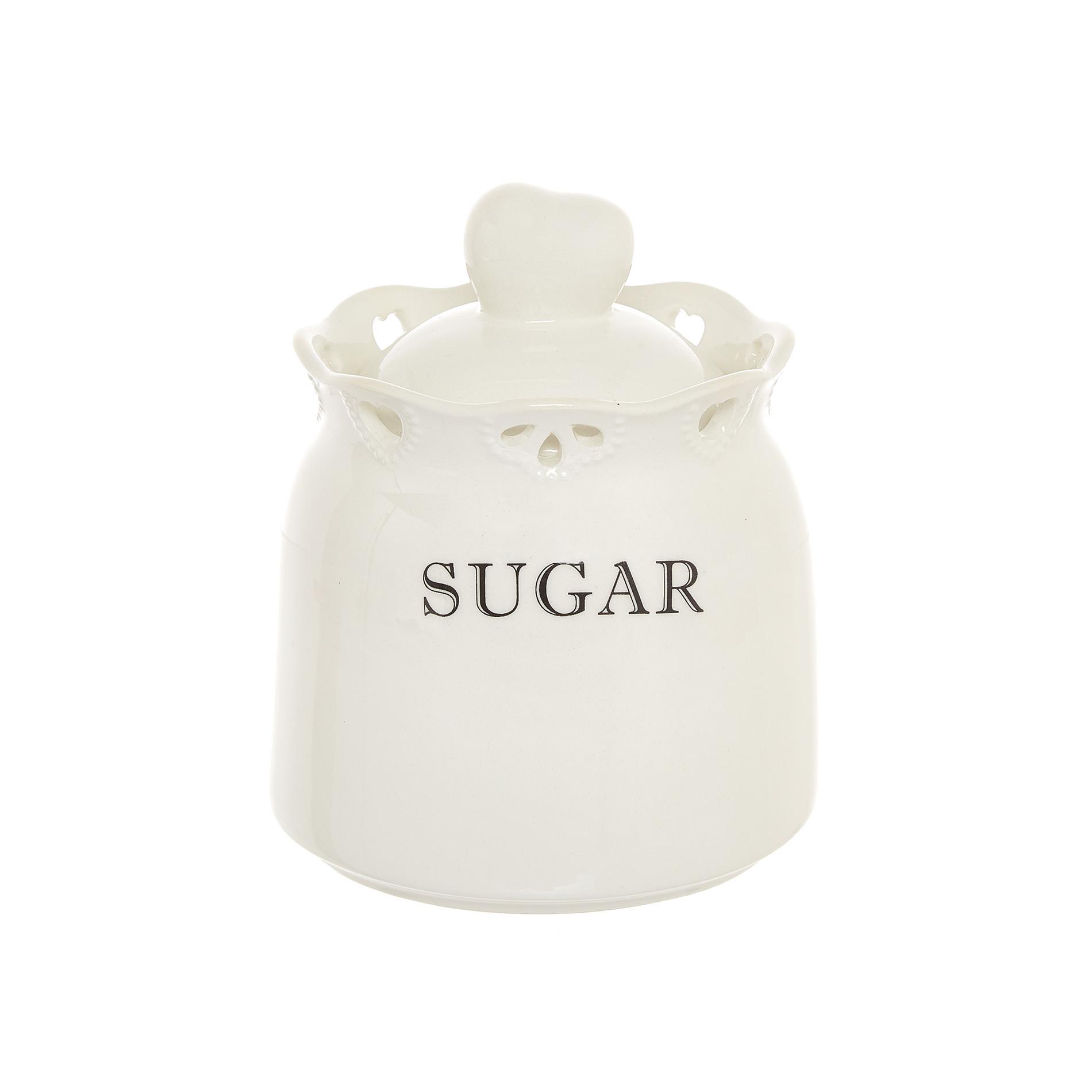 Barattolo sugar ceramica traforata, Bianco, large image number 0