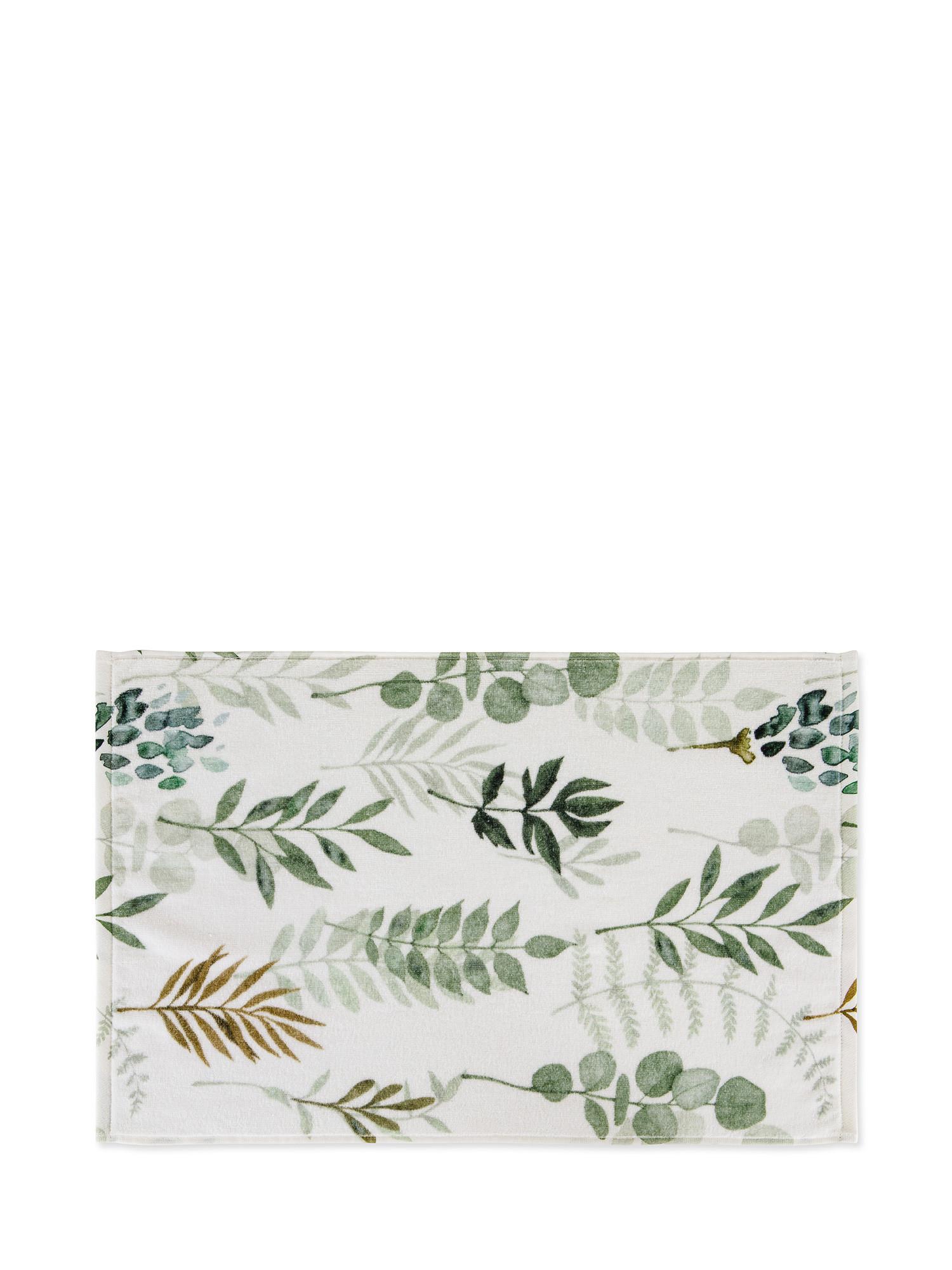 Asciugamano cotone velour motivo botanico, Bianco, large image number 1