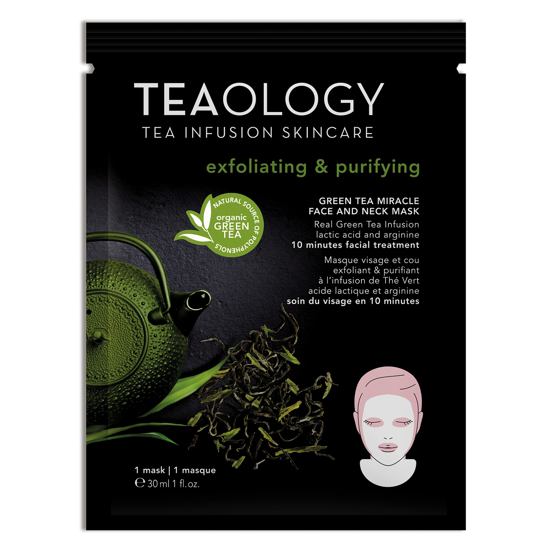 Green Tea Miracle Face and Neck Mask Esfoliante e Purificante 30 ml, Nero, large image number 1