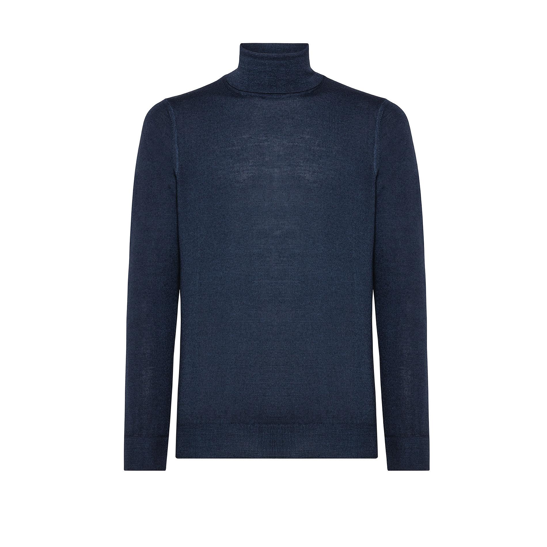 Pullover lana merinos collo alto, Blu, large image number 0